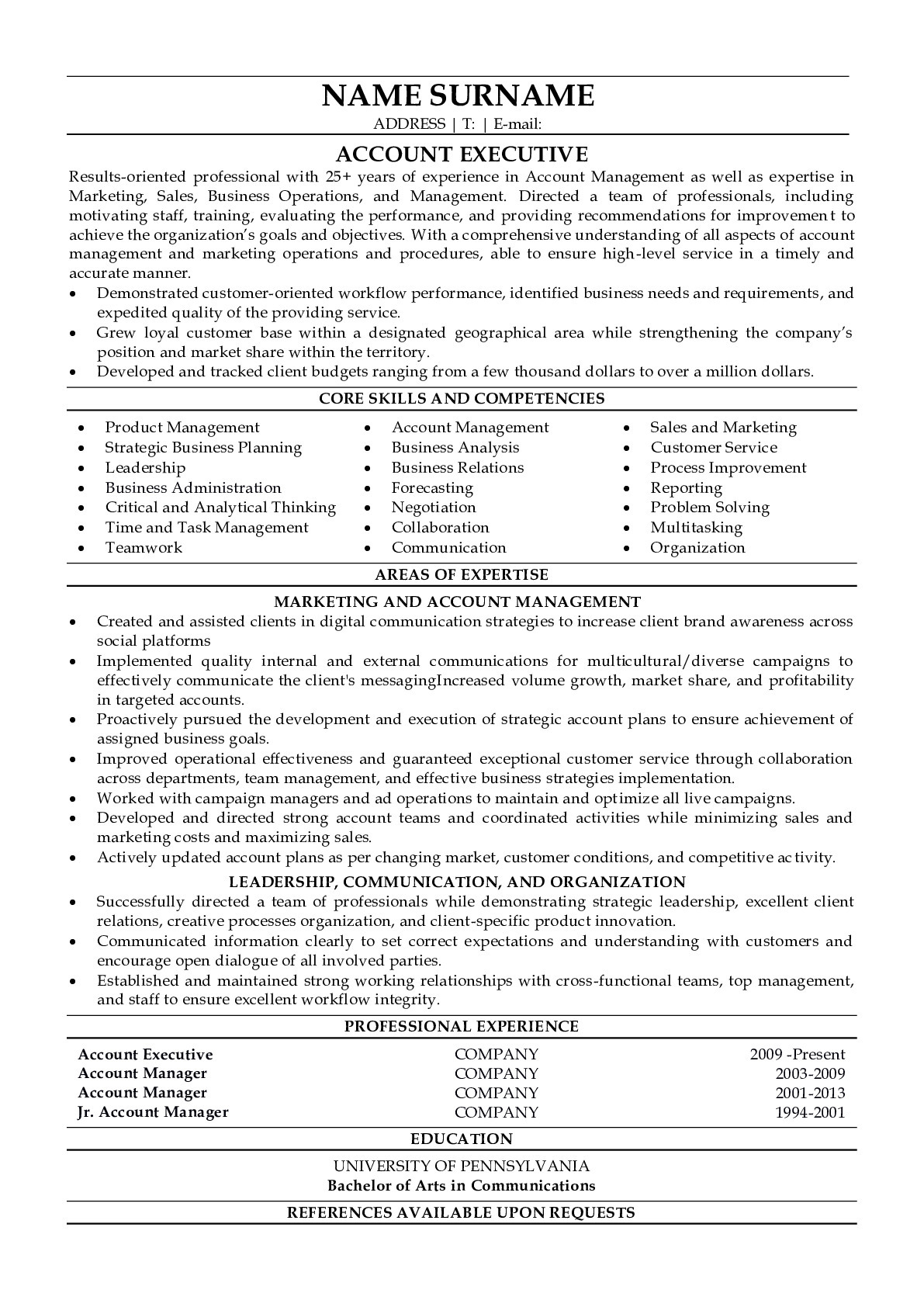 Resume Example for Account Executive