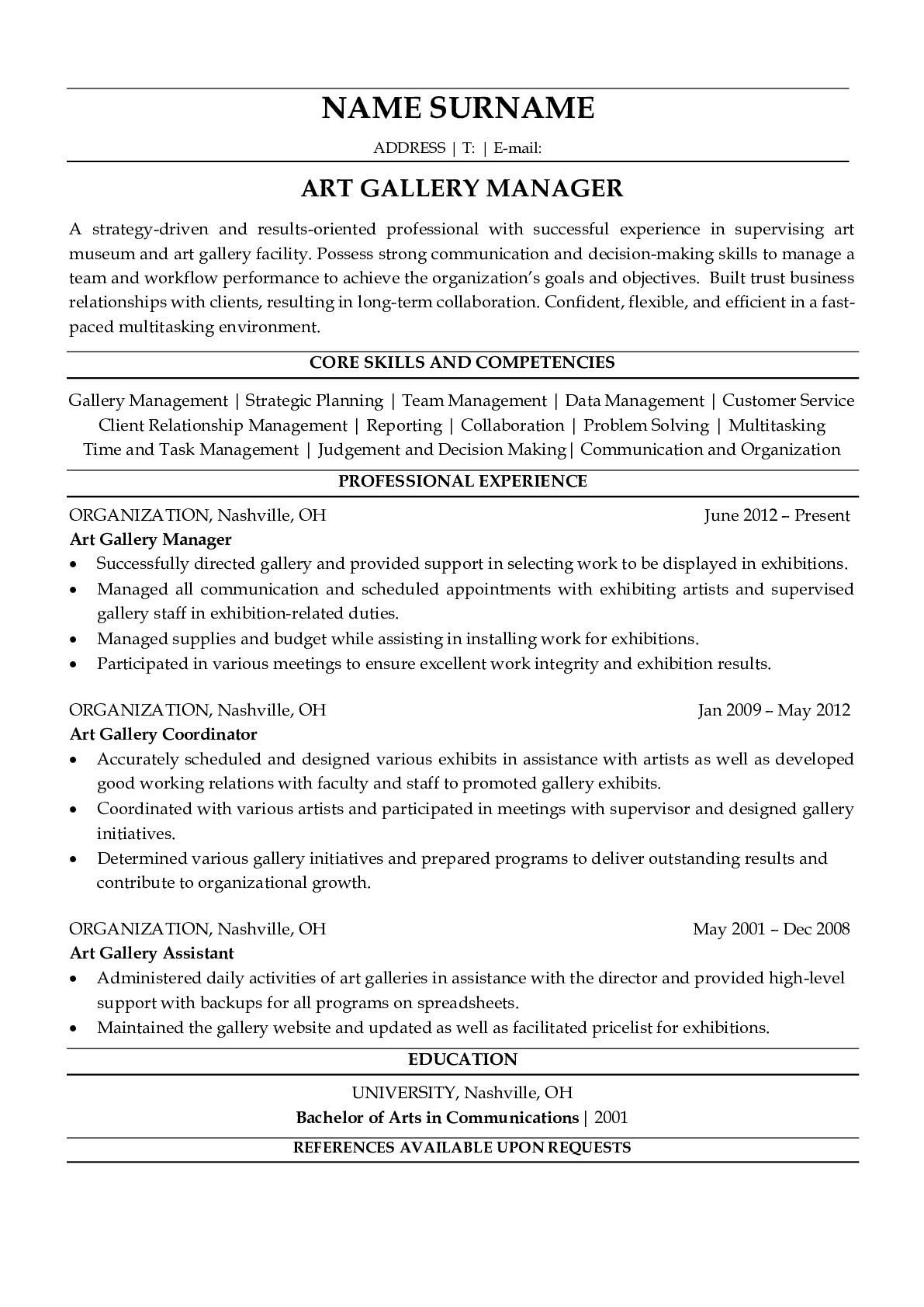 Resume Example for Art Gallery Manager
