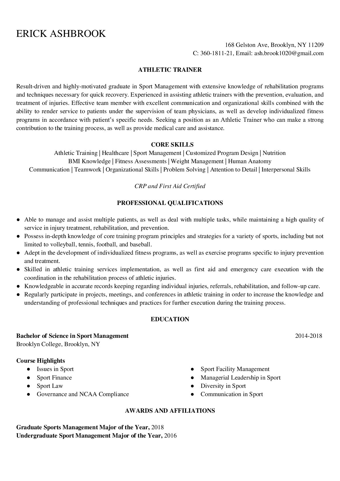 Resume Example for Athletic Trainer