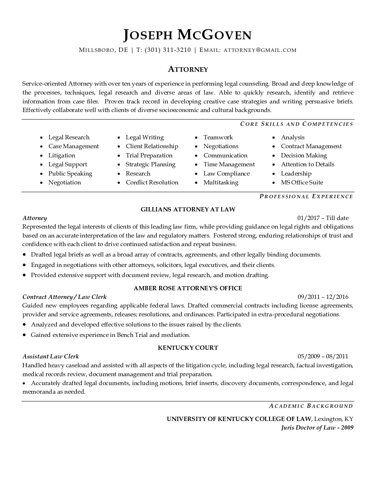 Resume Example for Attorney