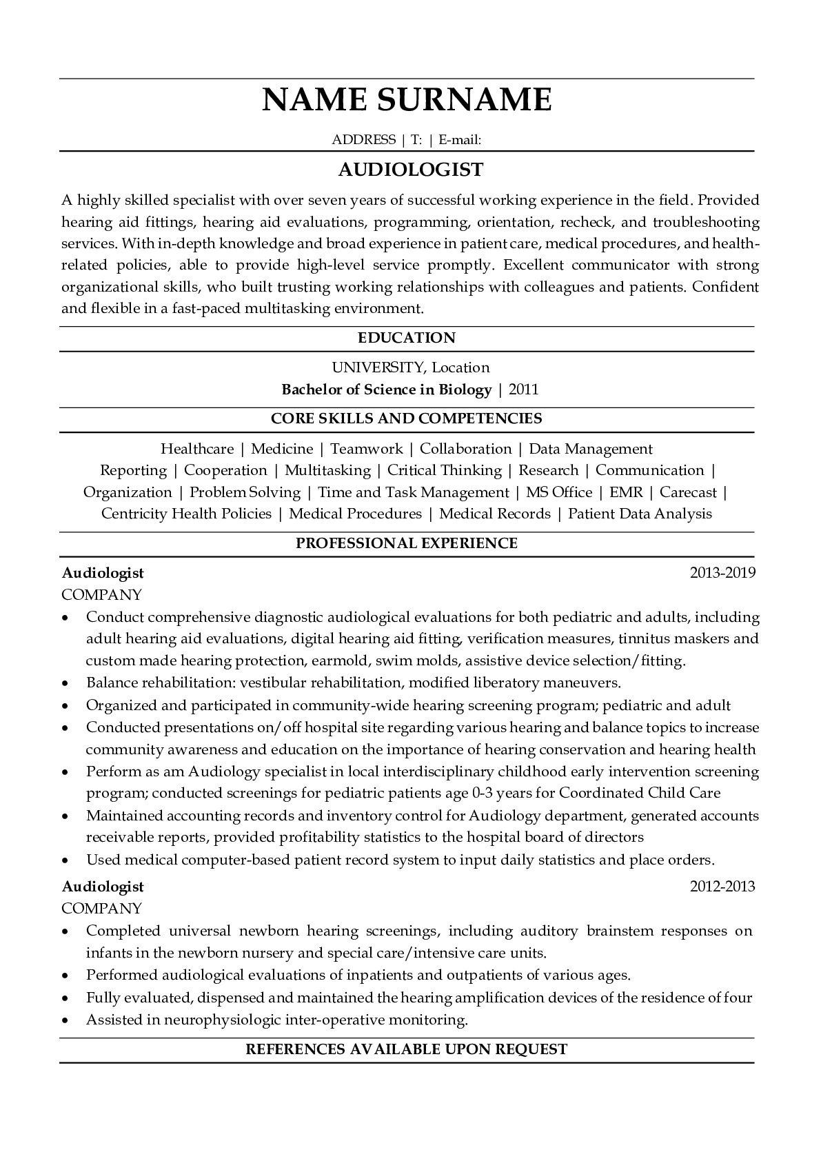 Resume Example for Audiologist