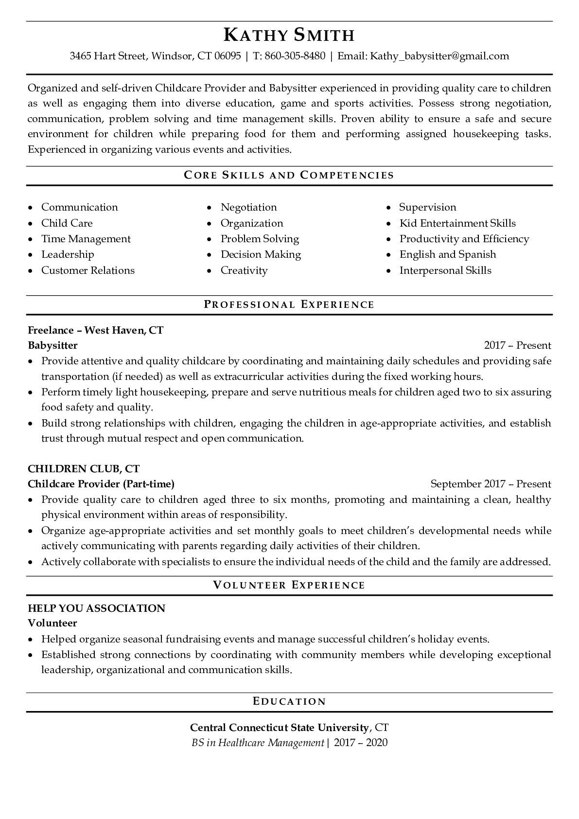 Resume Example for Babysitter
