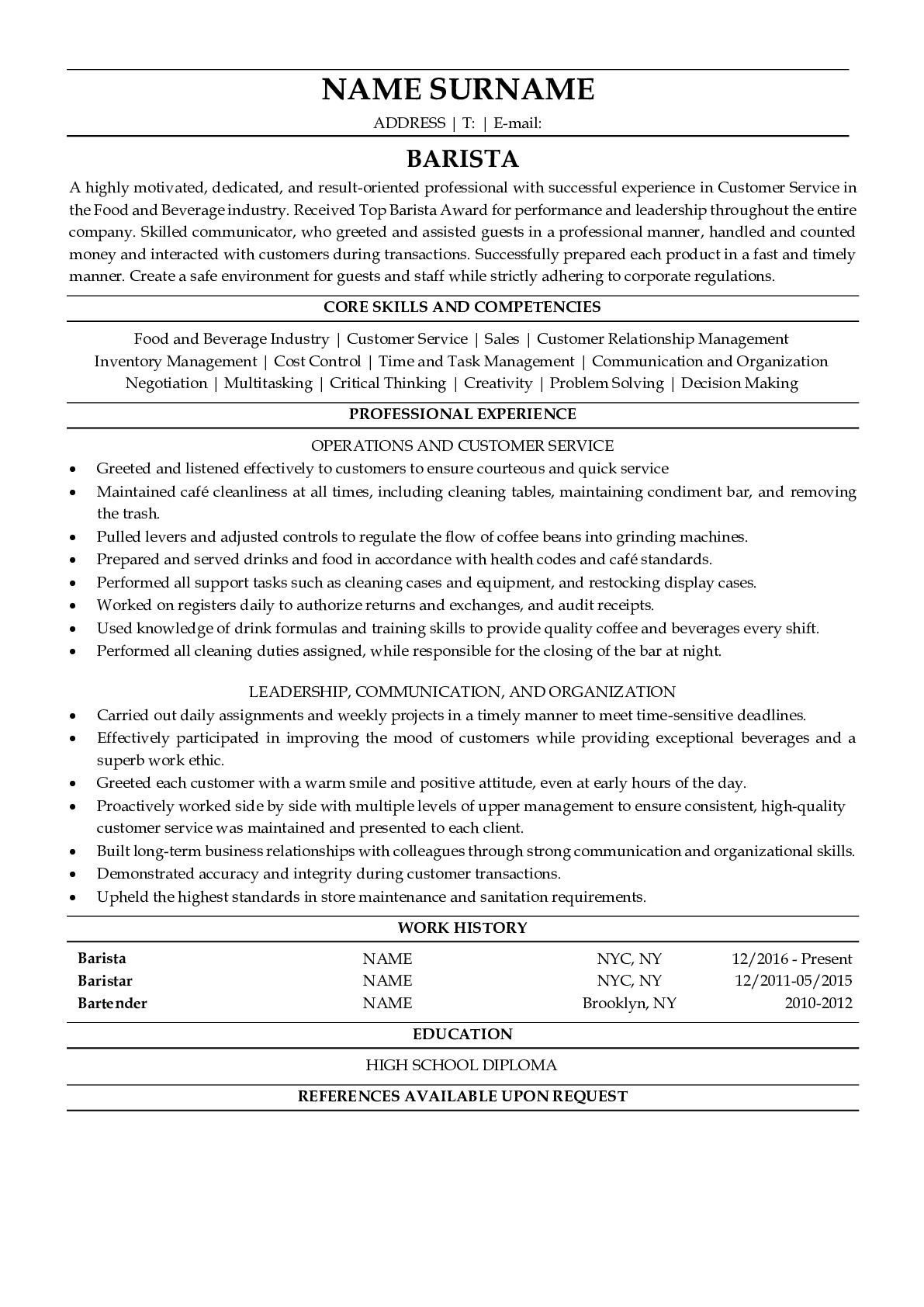 Resume Example for Barista
