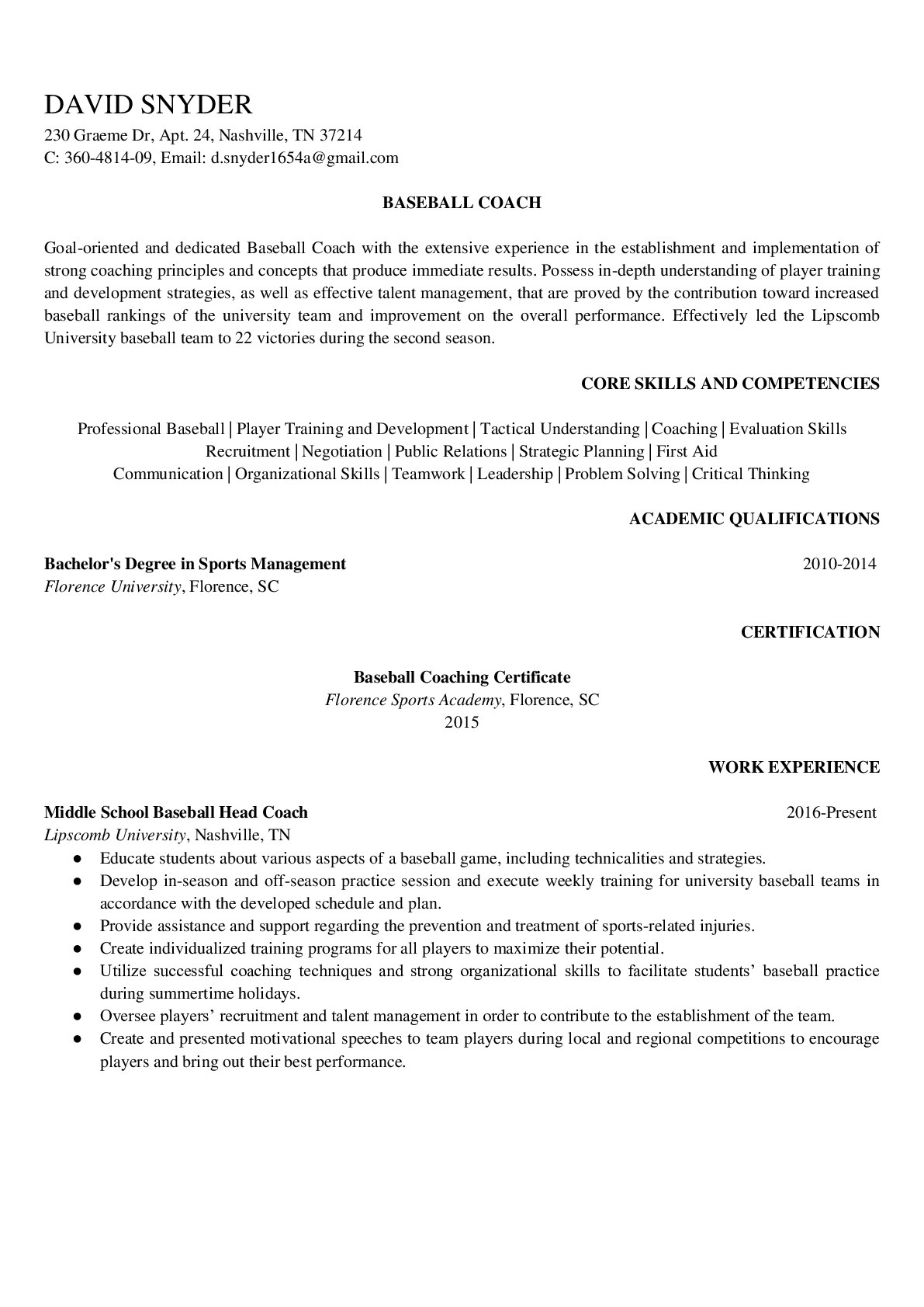 Resume Example for Baseball Coach
