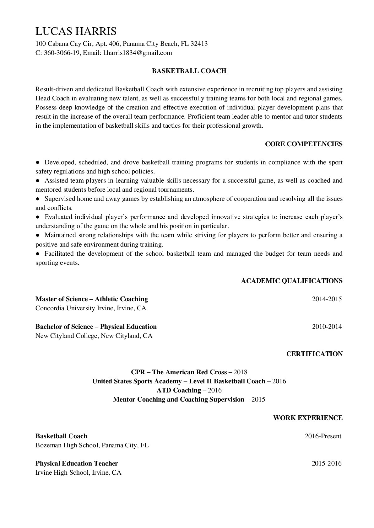Resume Example for Basketball Coach