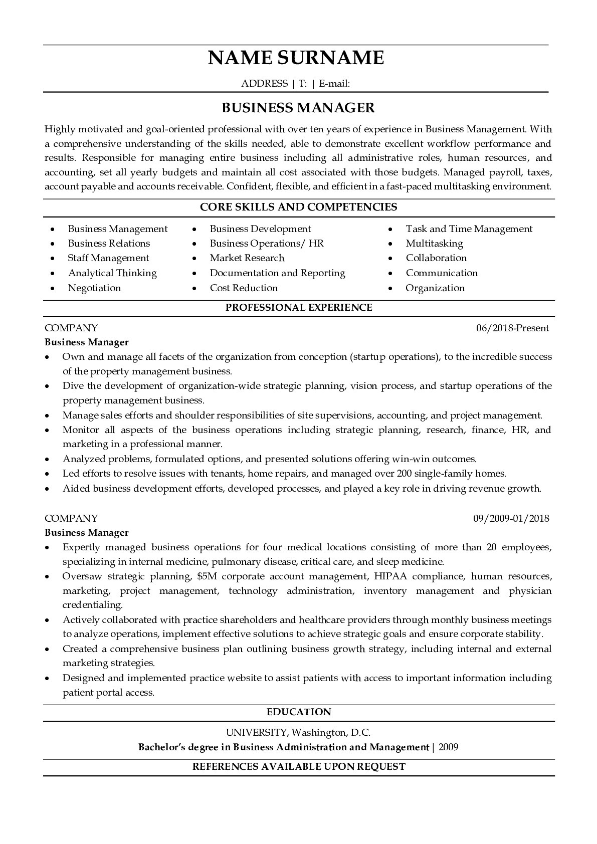 Resume Example for Business Manager