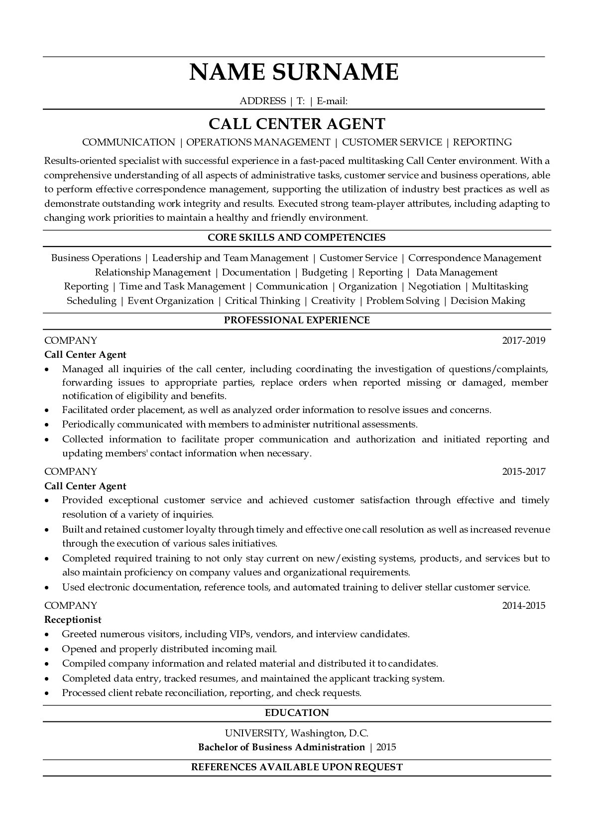 Resume Example for Call Center Agent
