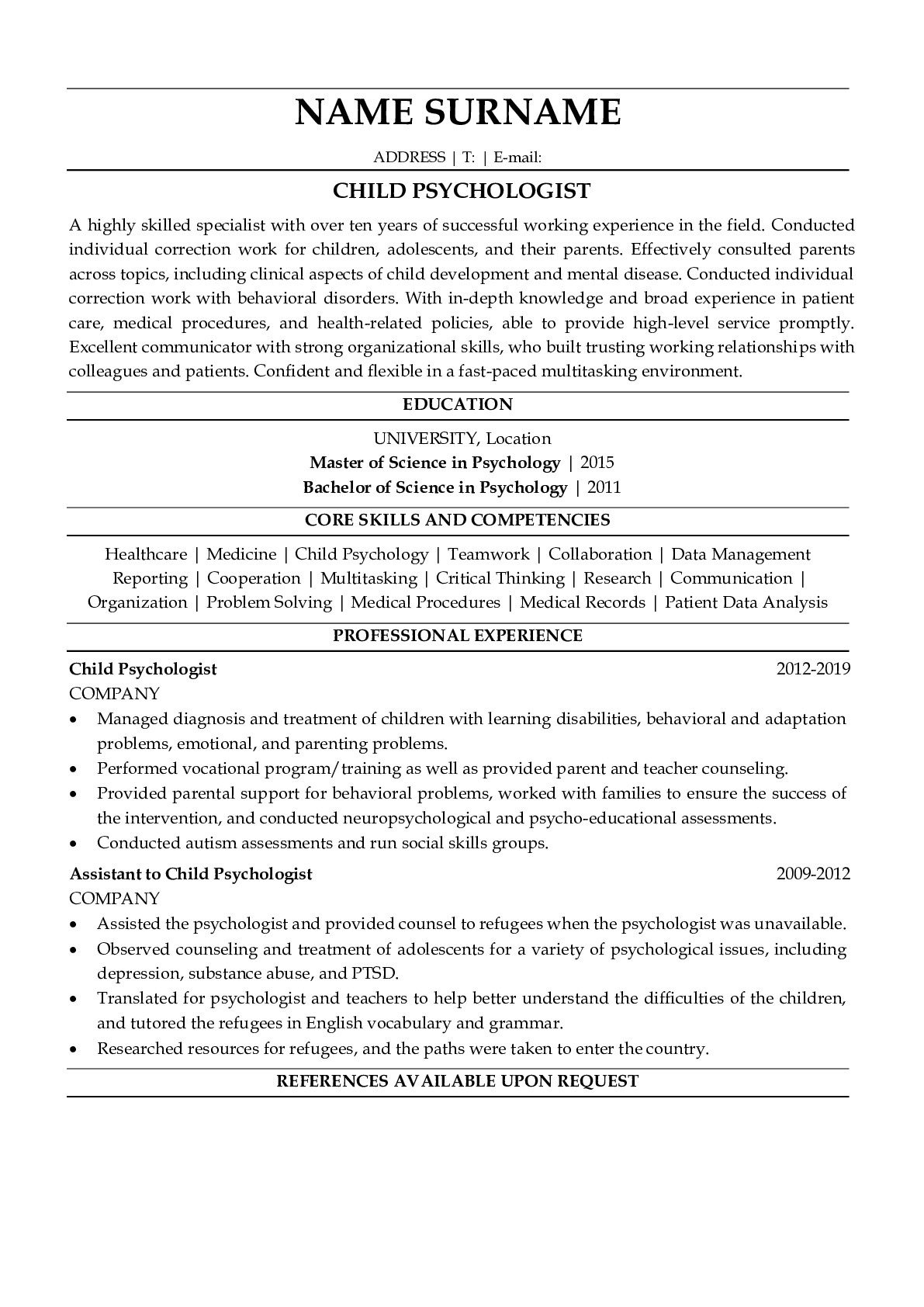 Resume Example for Child Psychologist