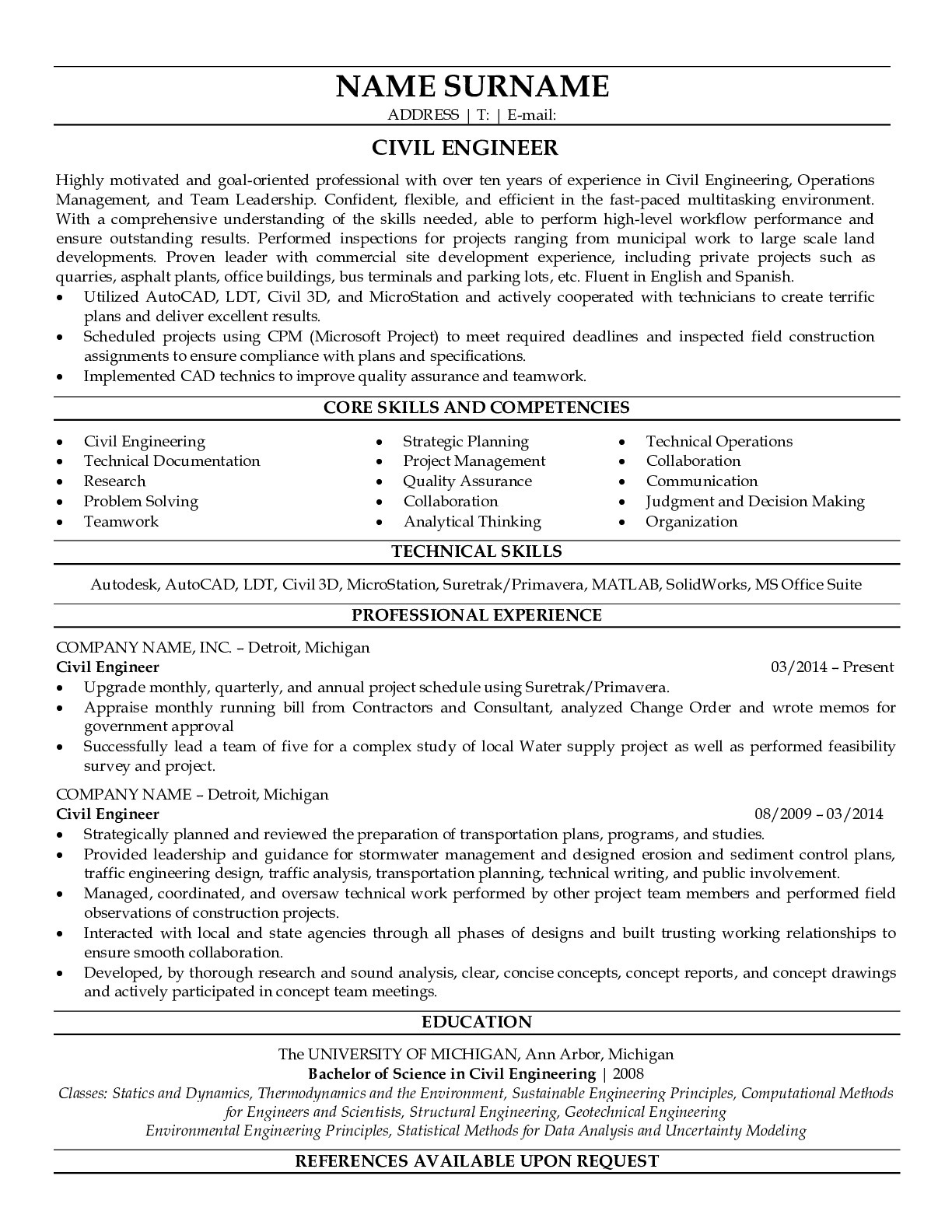 Resume Example for Civil Engineer