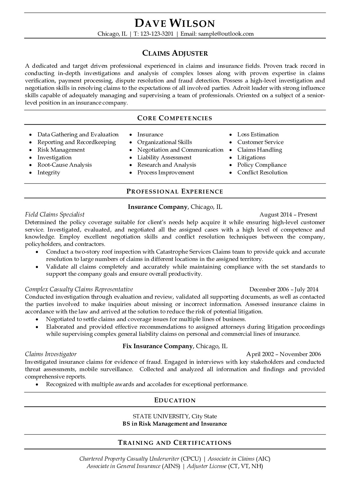 Resume Example for Claims Adjuster