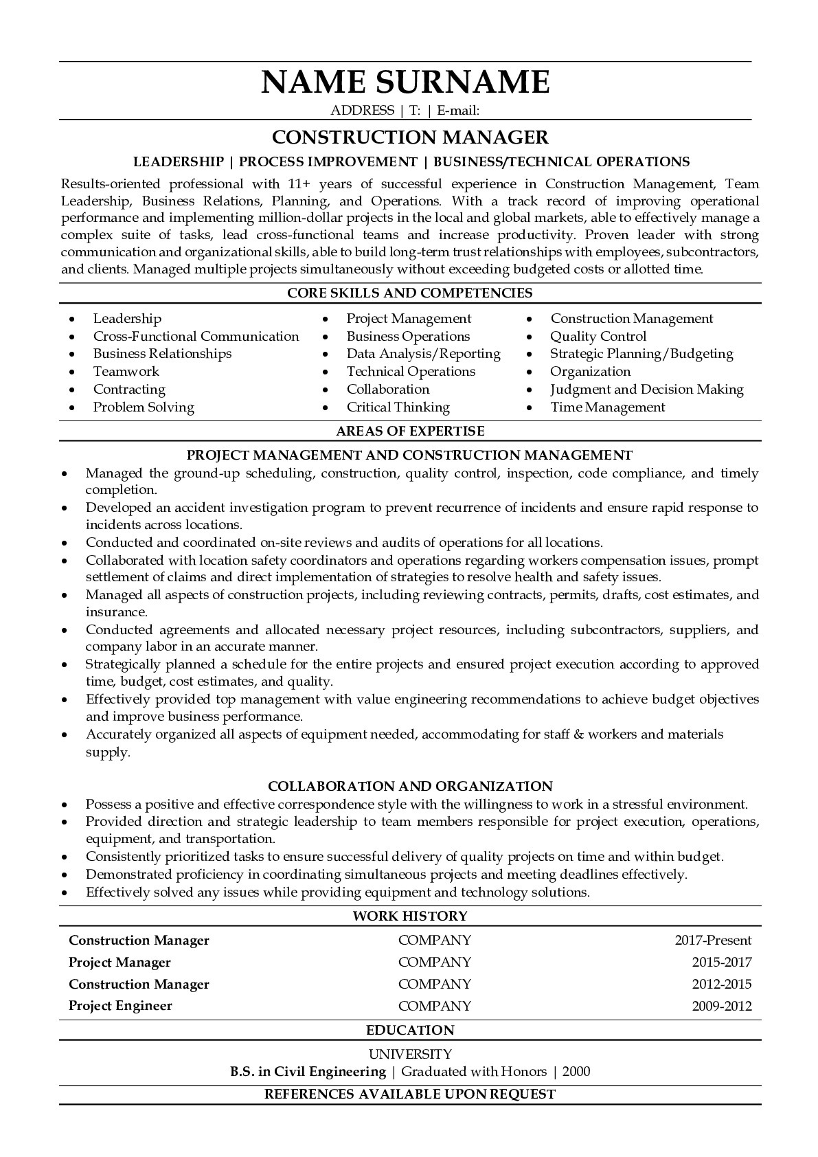 Resume Example for Construction Manager