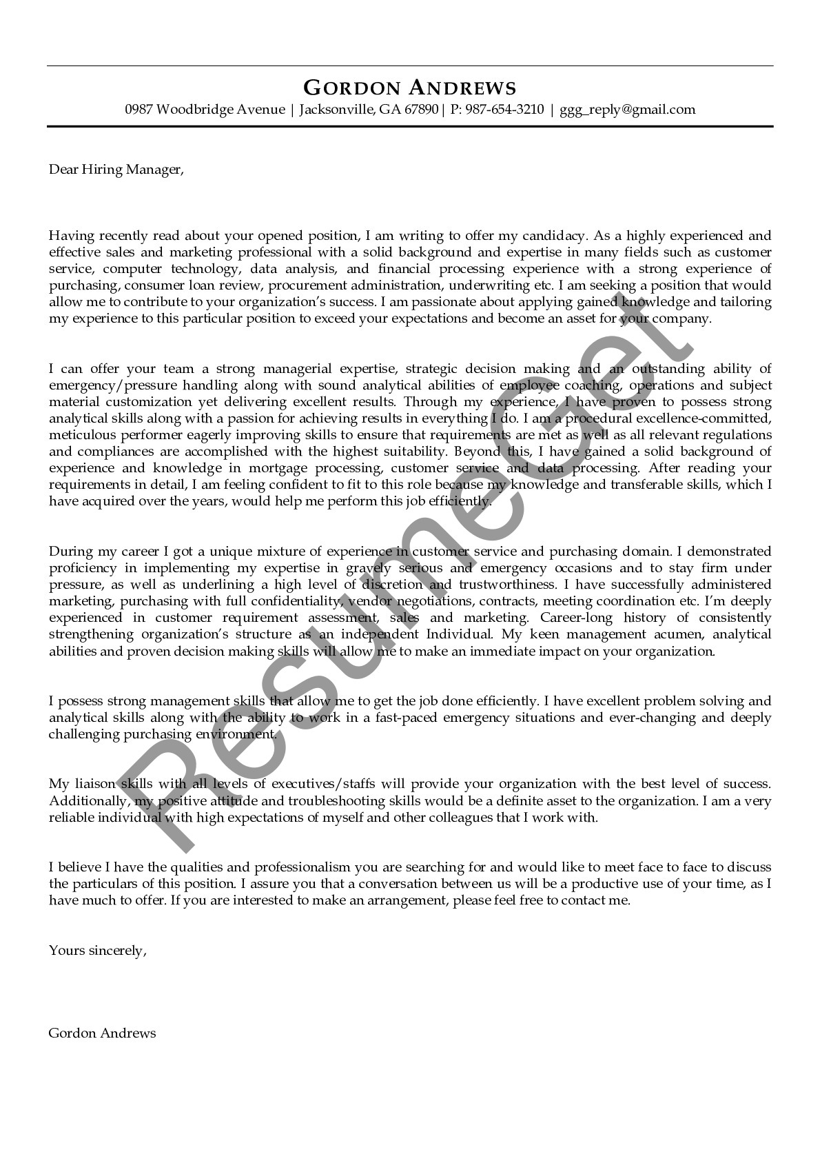 Cover Letter for Marketing Professional