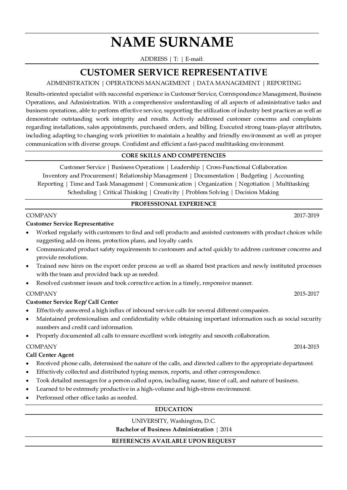 Resume Example for Customer Service Representative