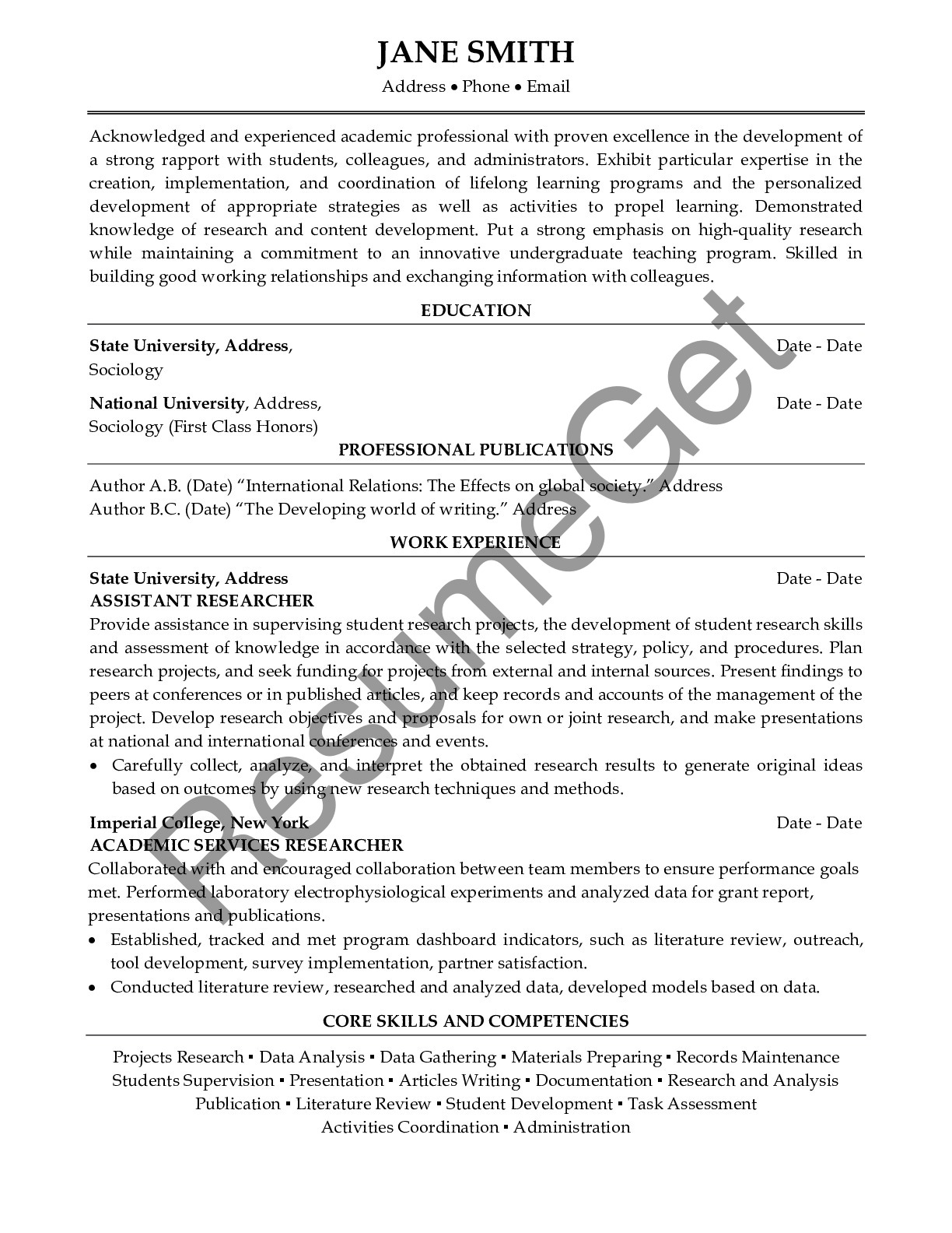 CV Example for Academic Professional