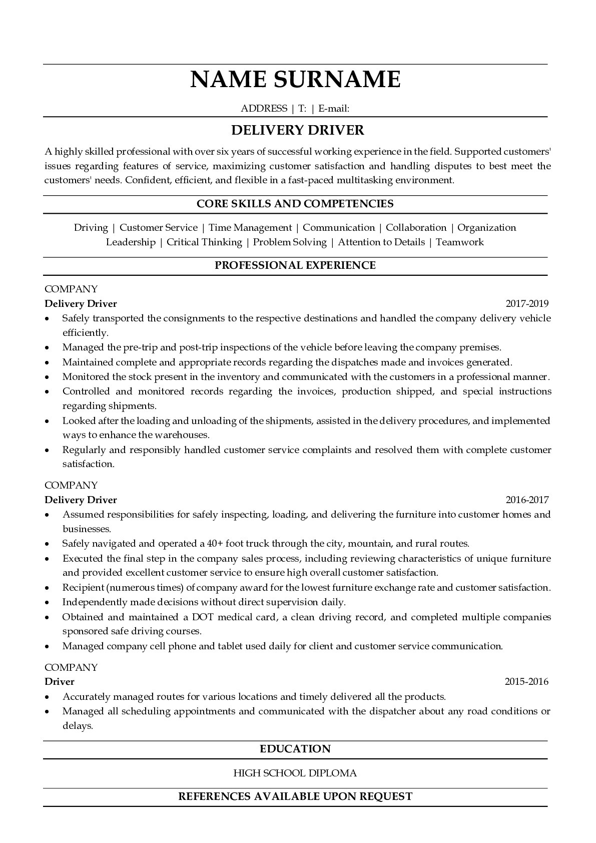 Resume Example for Delivery Driver
