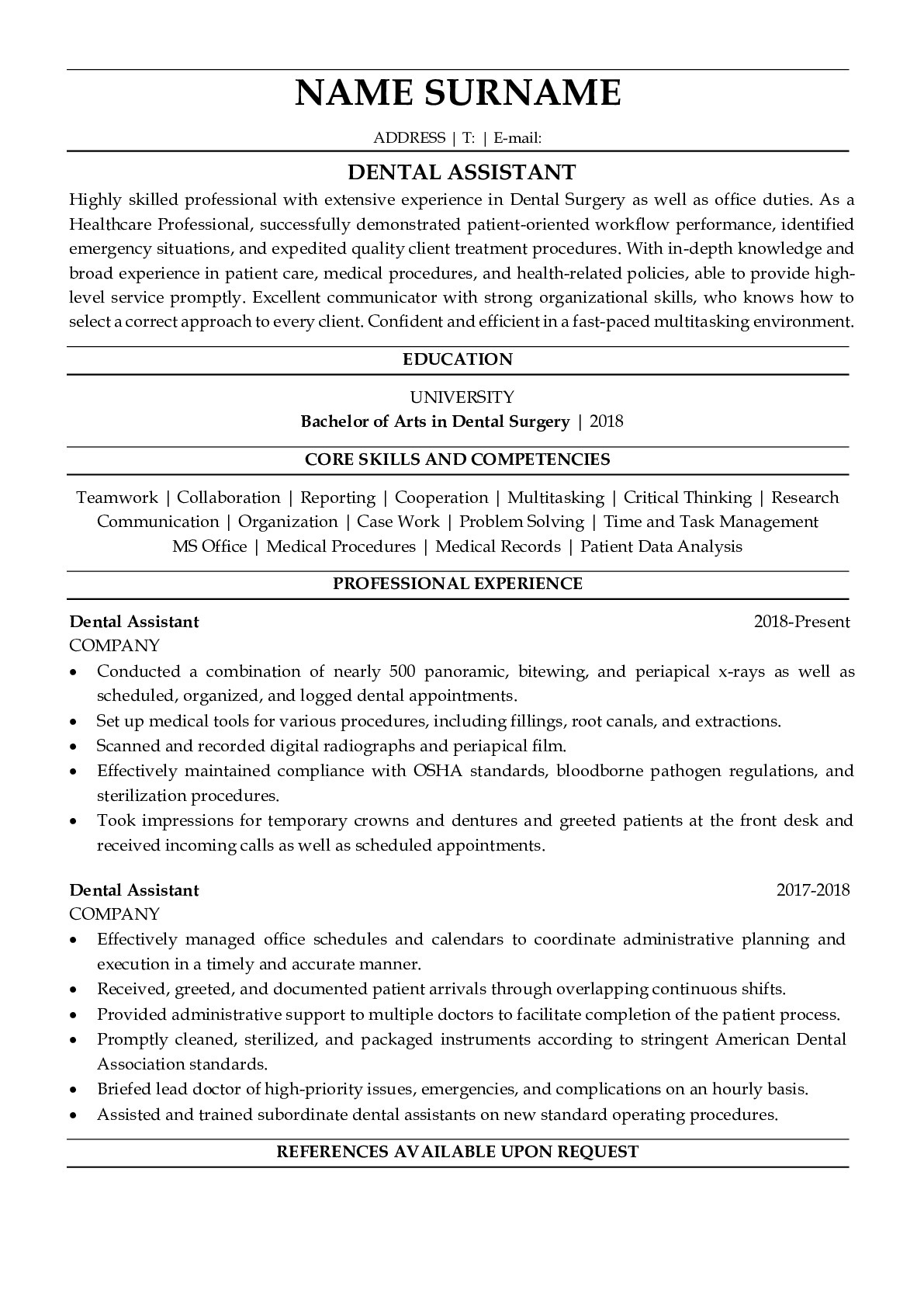 Resume Example for Dental Assistant