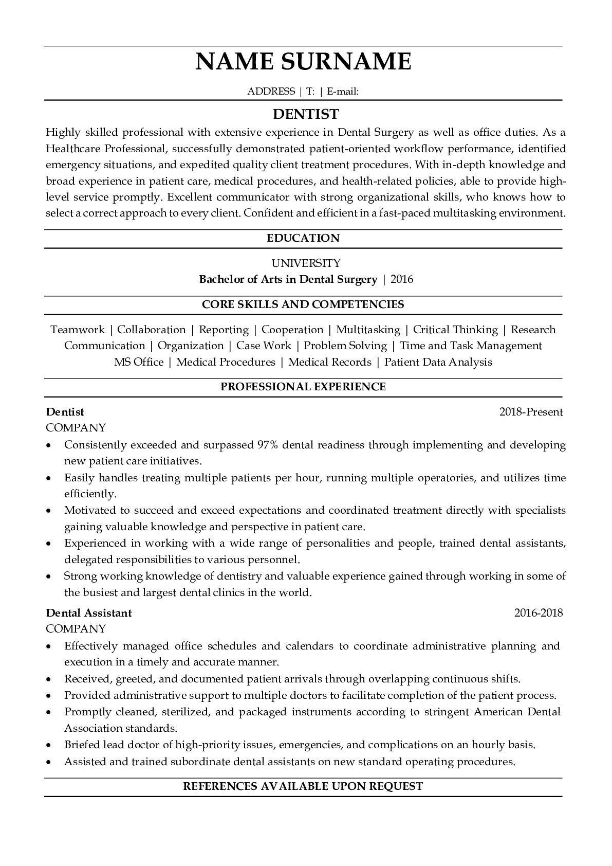 Resume Example for Dentist