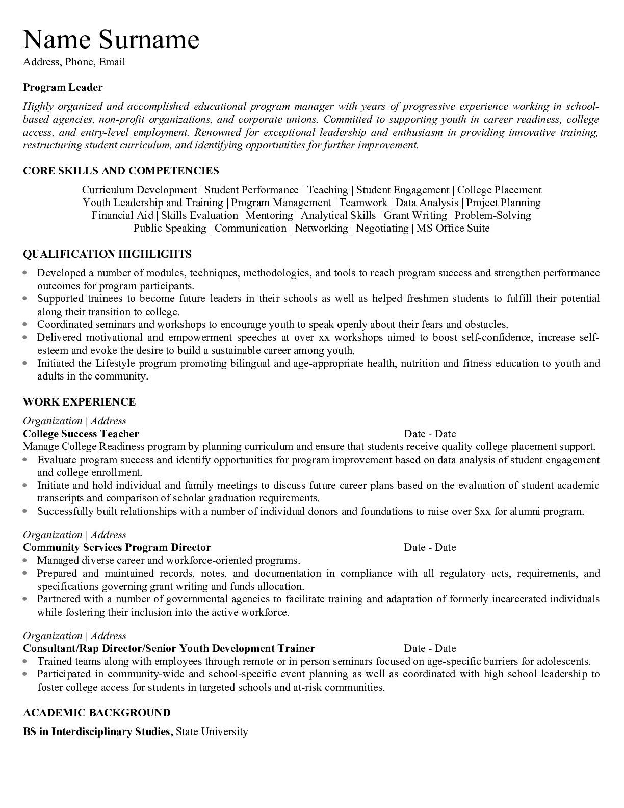Resume for Educaltional Program Leader