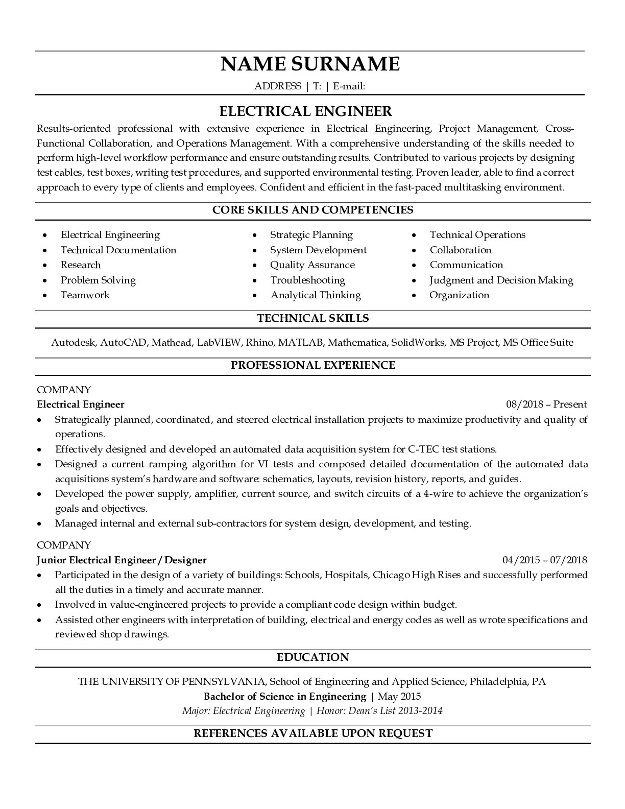Resume Example for Electrical Engineer