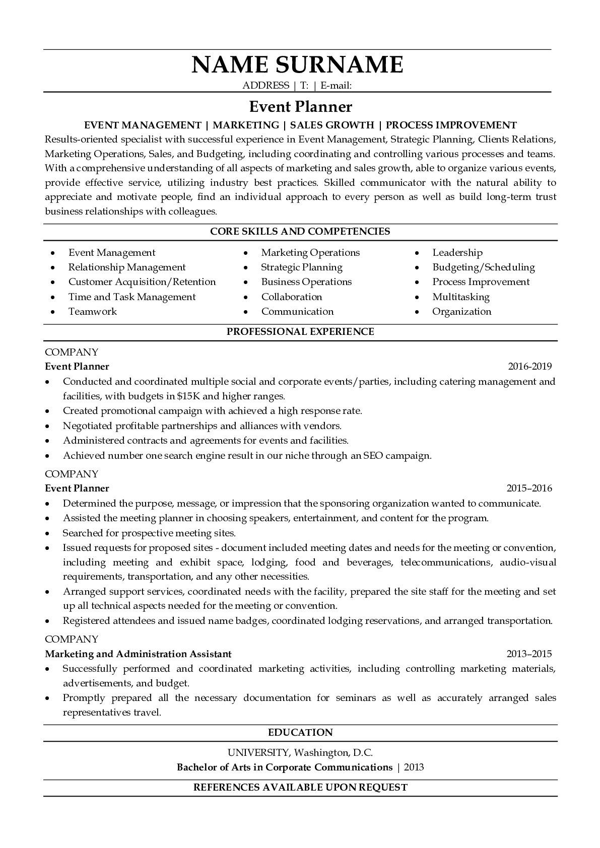 Resume Example for Event Planner