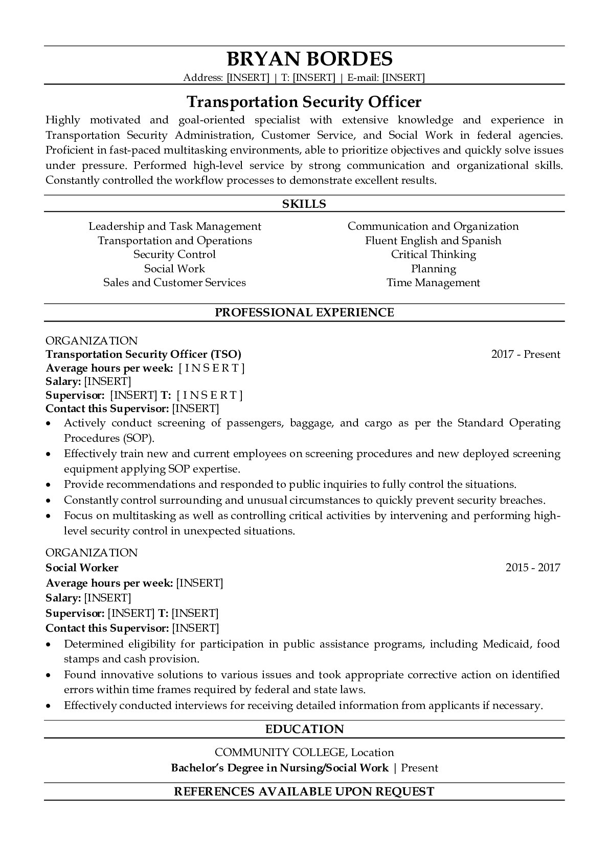 Resume Example for Federal
