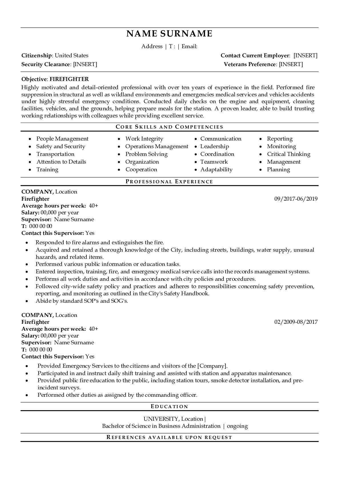 Resume Example for Firefighter