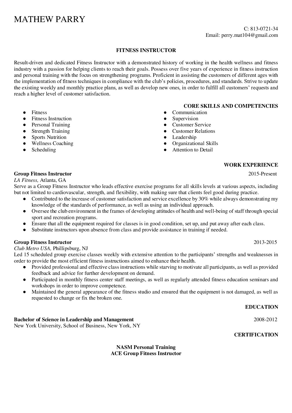 Resume Example for Fitness Instructor