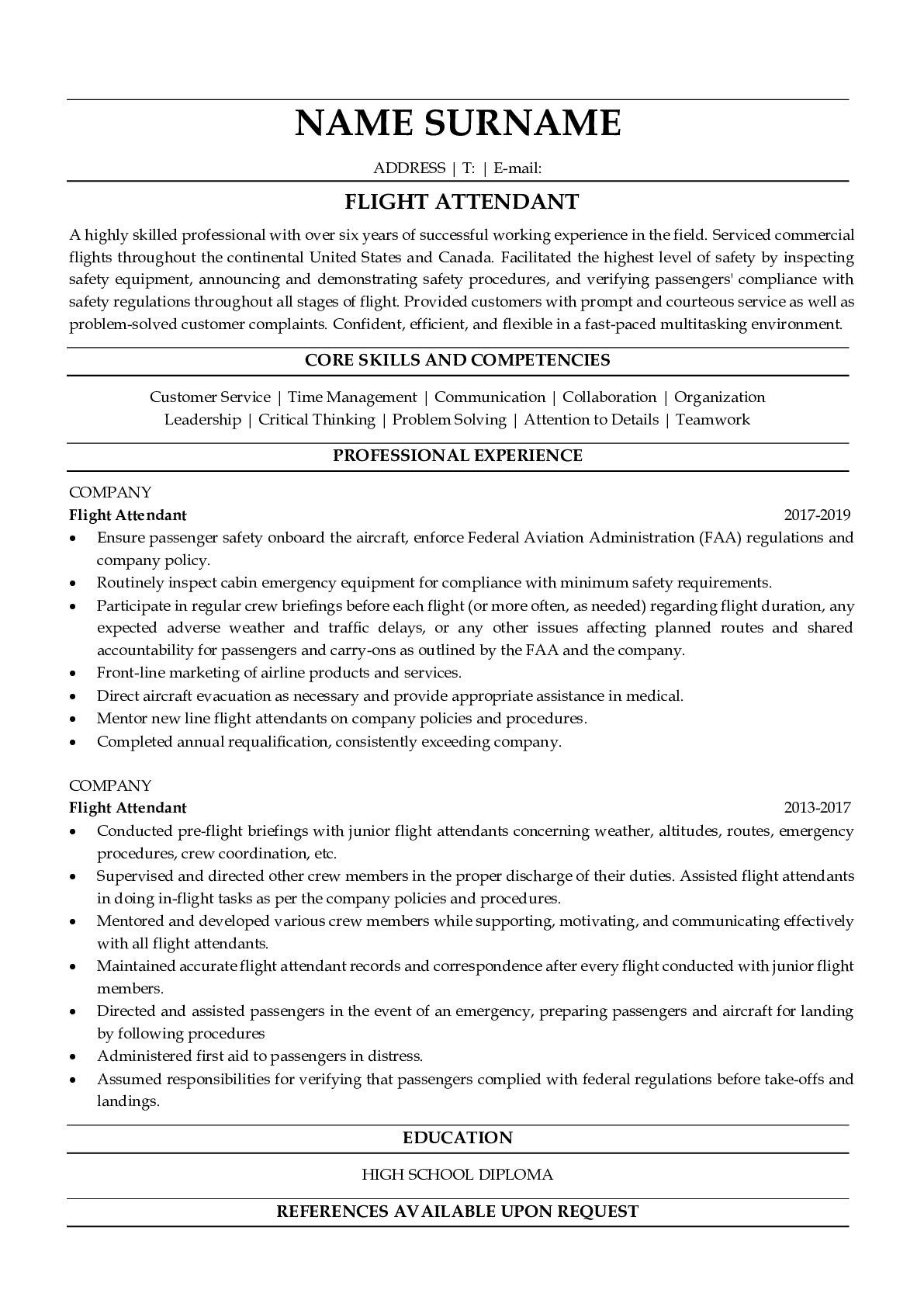 Resume Example for Flight Attendant