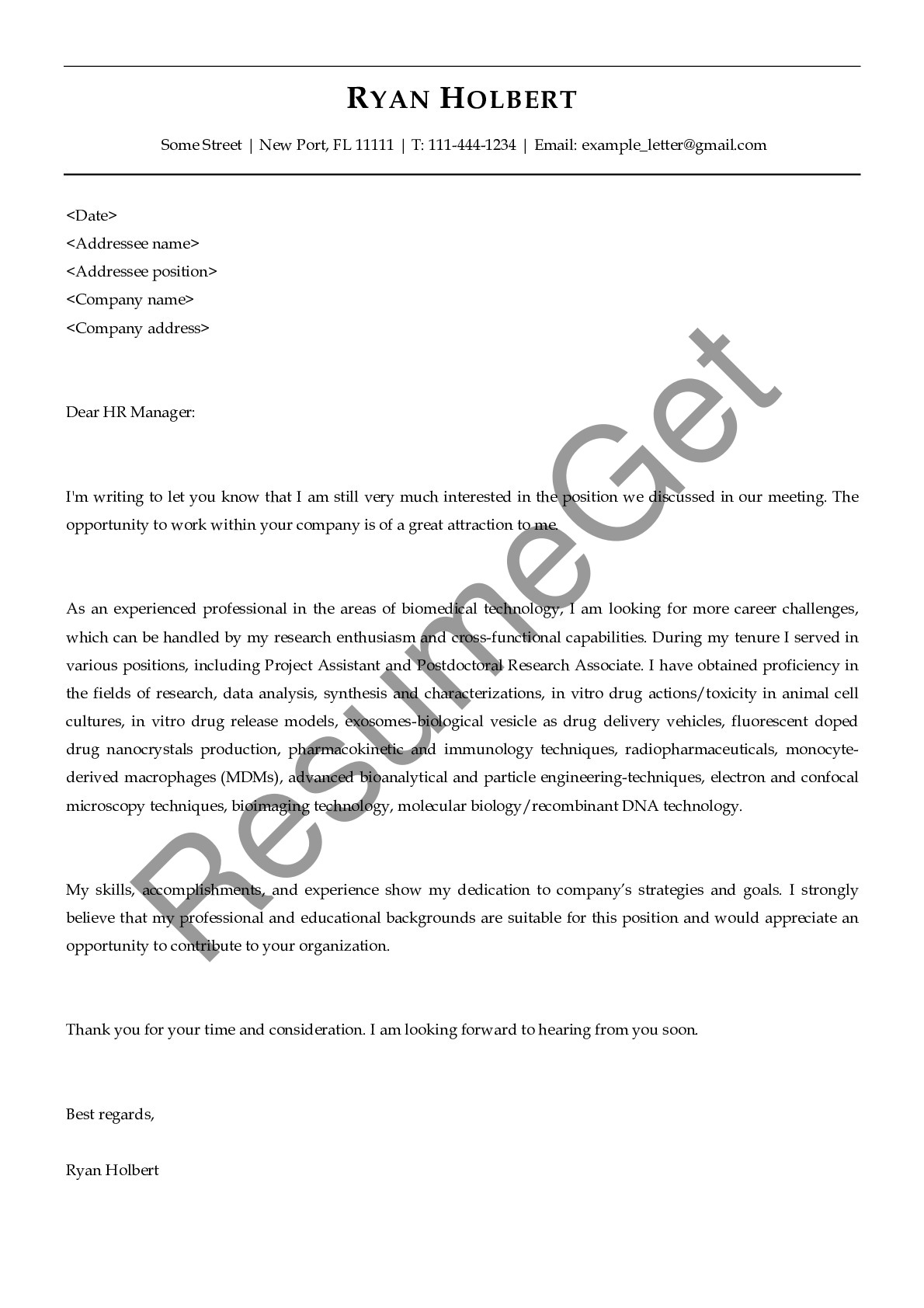 Follow Up Letter for Biomedical Professional