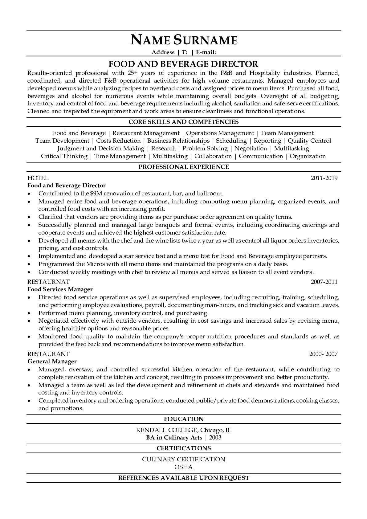 Resume Example for Food and Beverage Director