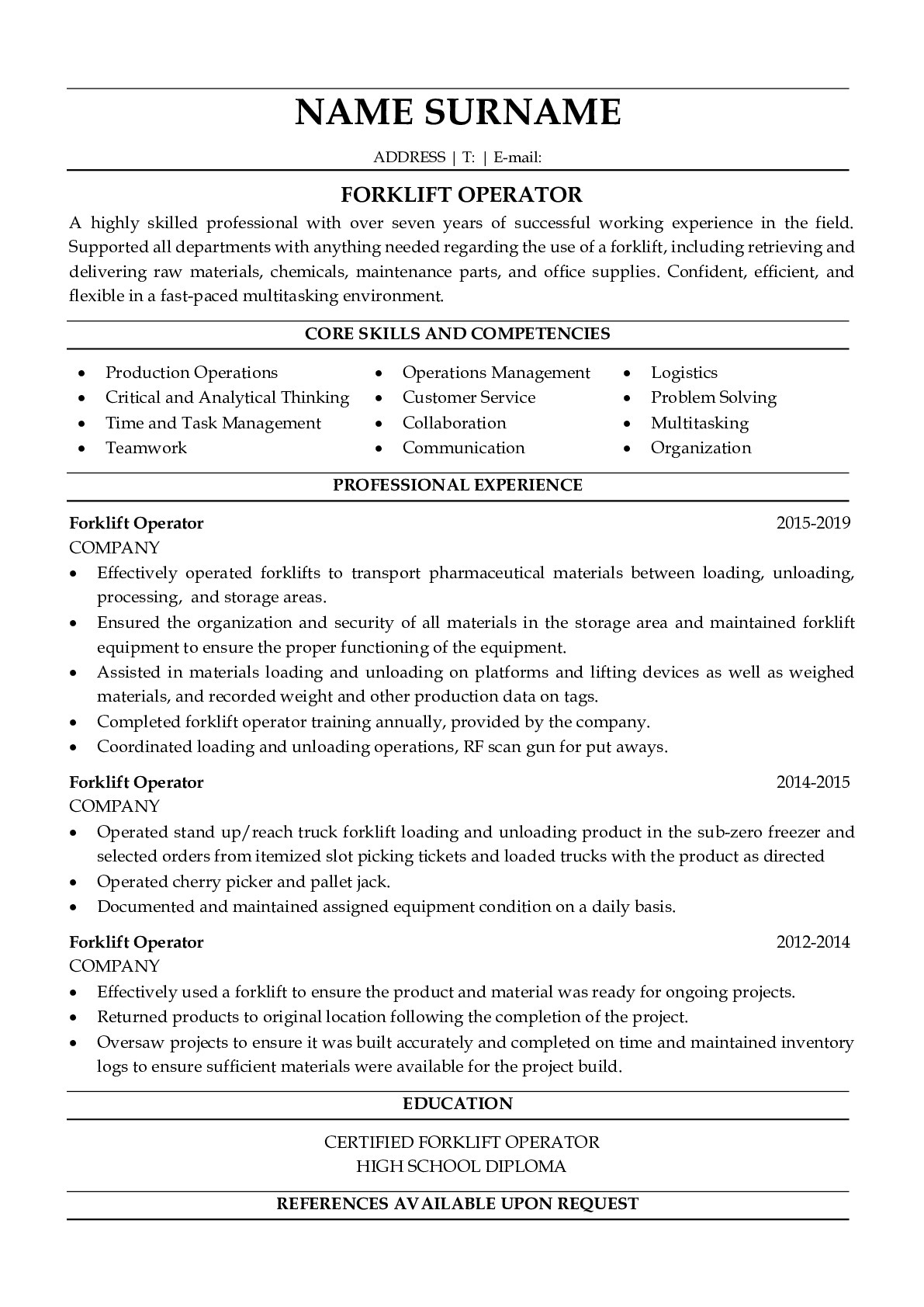 Resume Example for Forklift Operator
