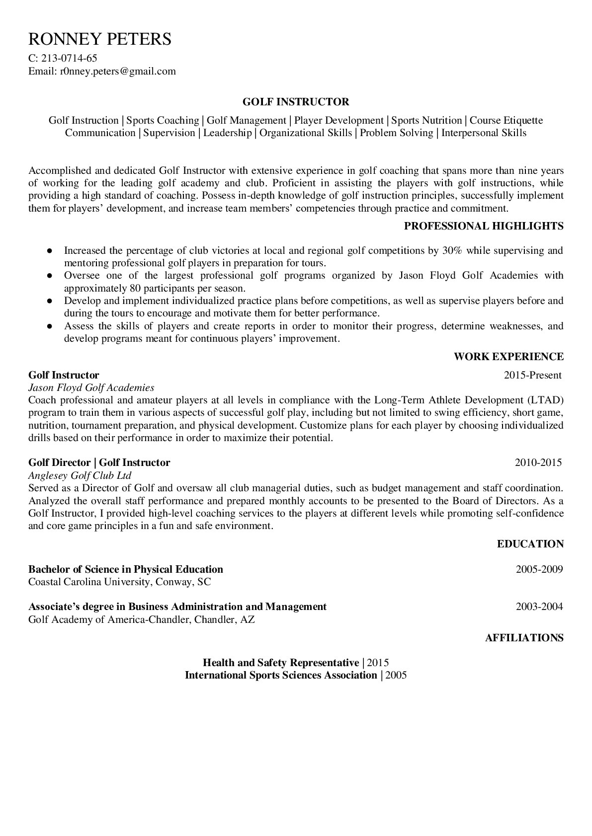 Resume Example for Golf Instructor