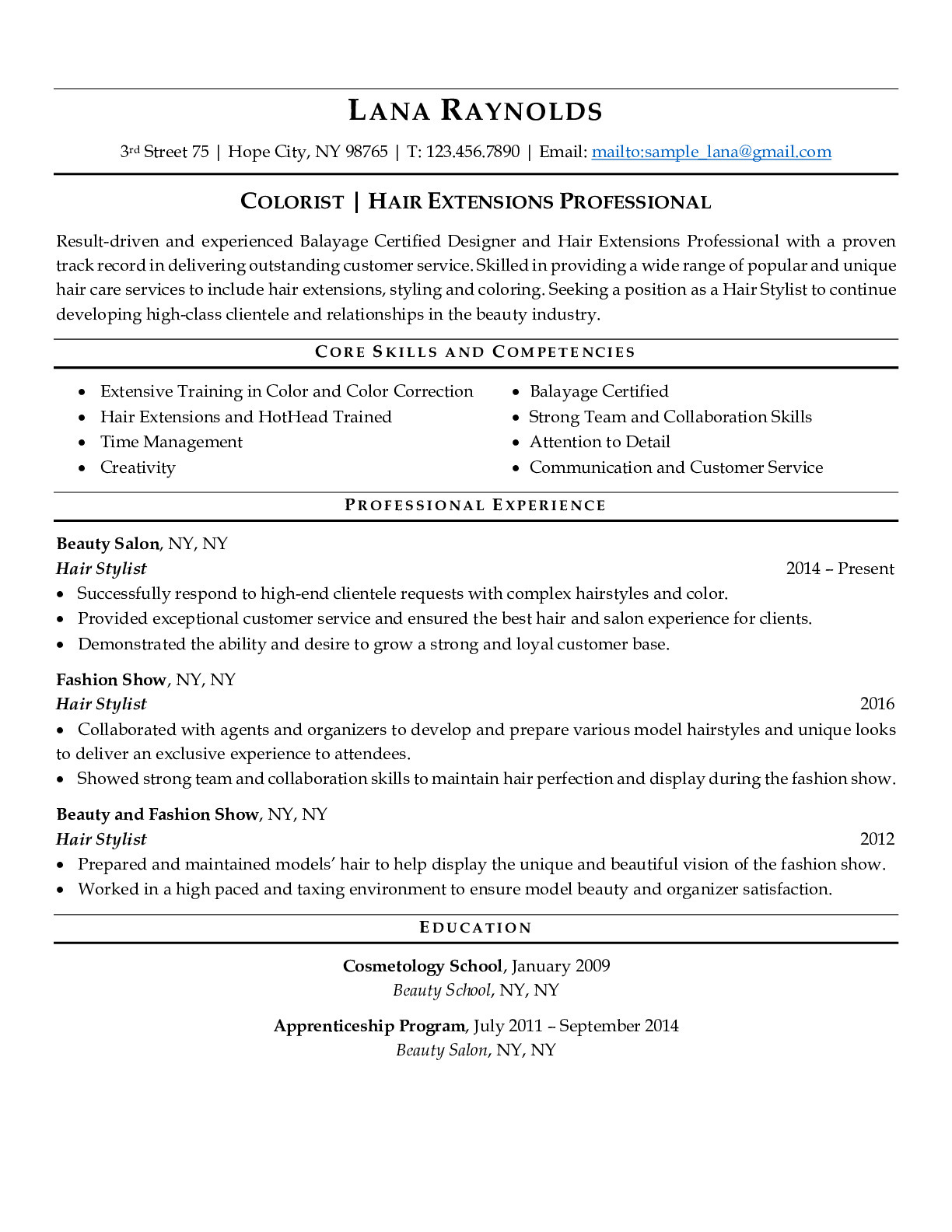 Resume Example for Hair Stylist
