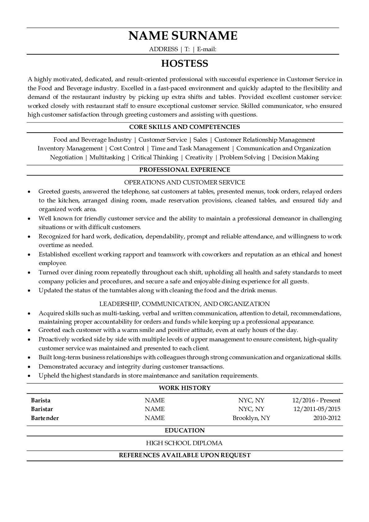 Resume Example forHostess