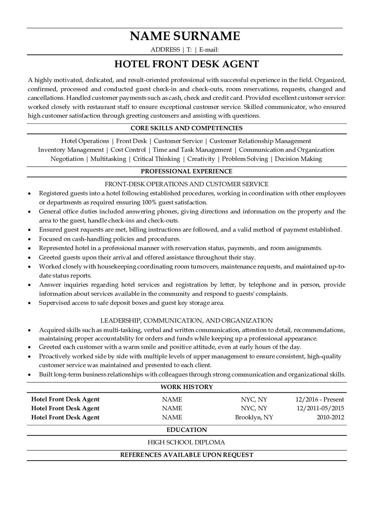 Resume Example for Hotel Front Desk Employee