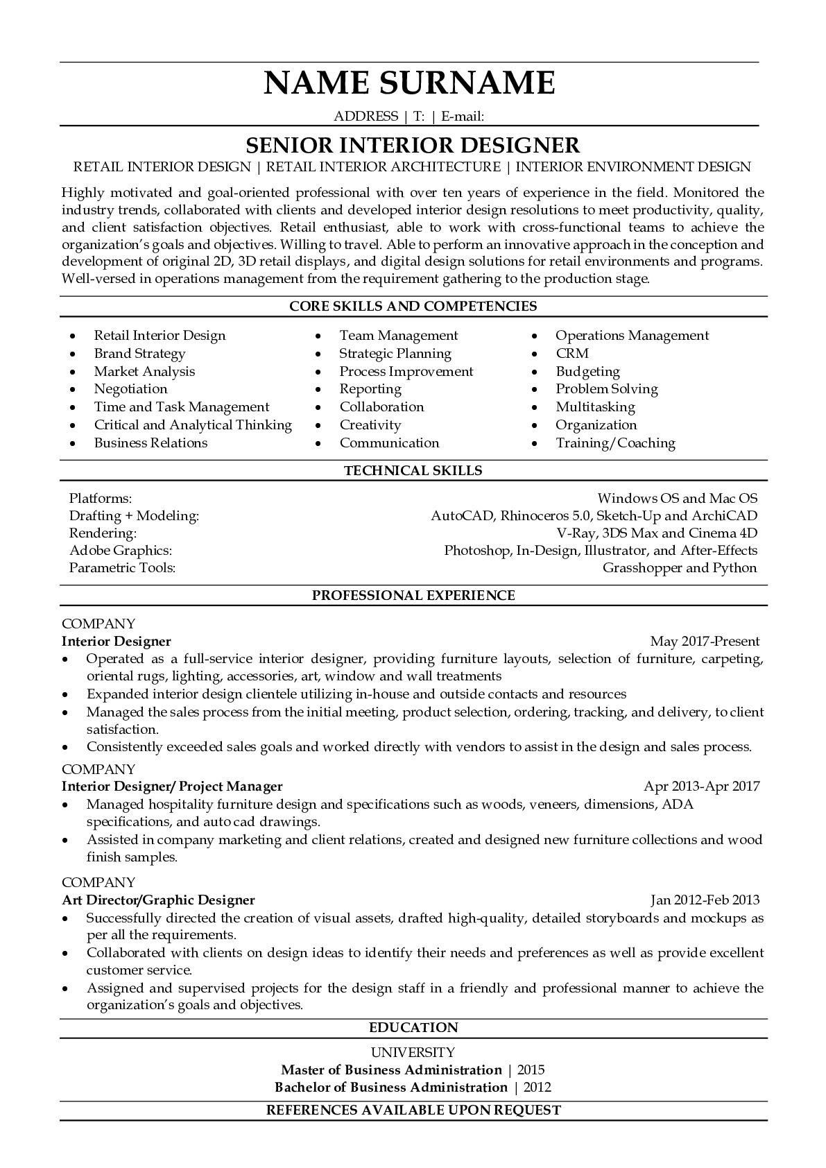 Resume Example for Interior Designer