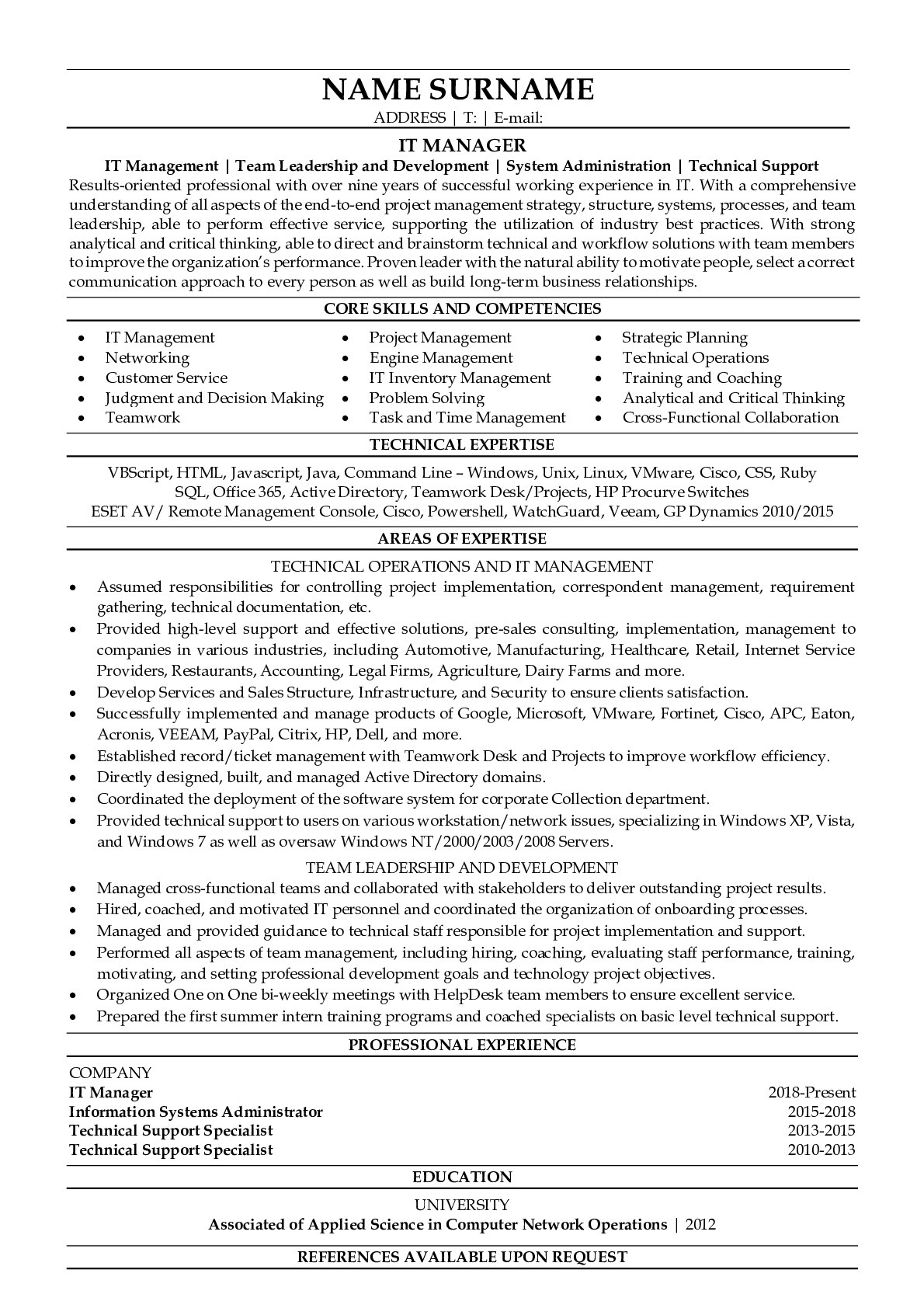 Resume Example for IT manager