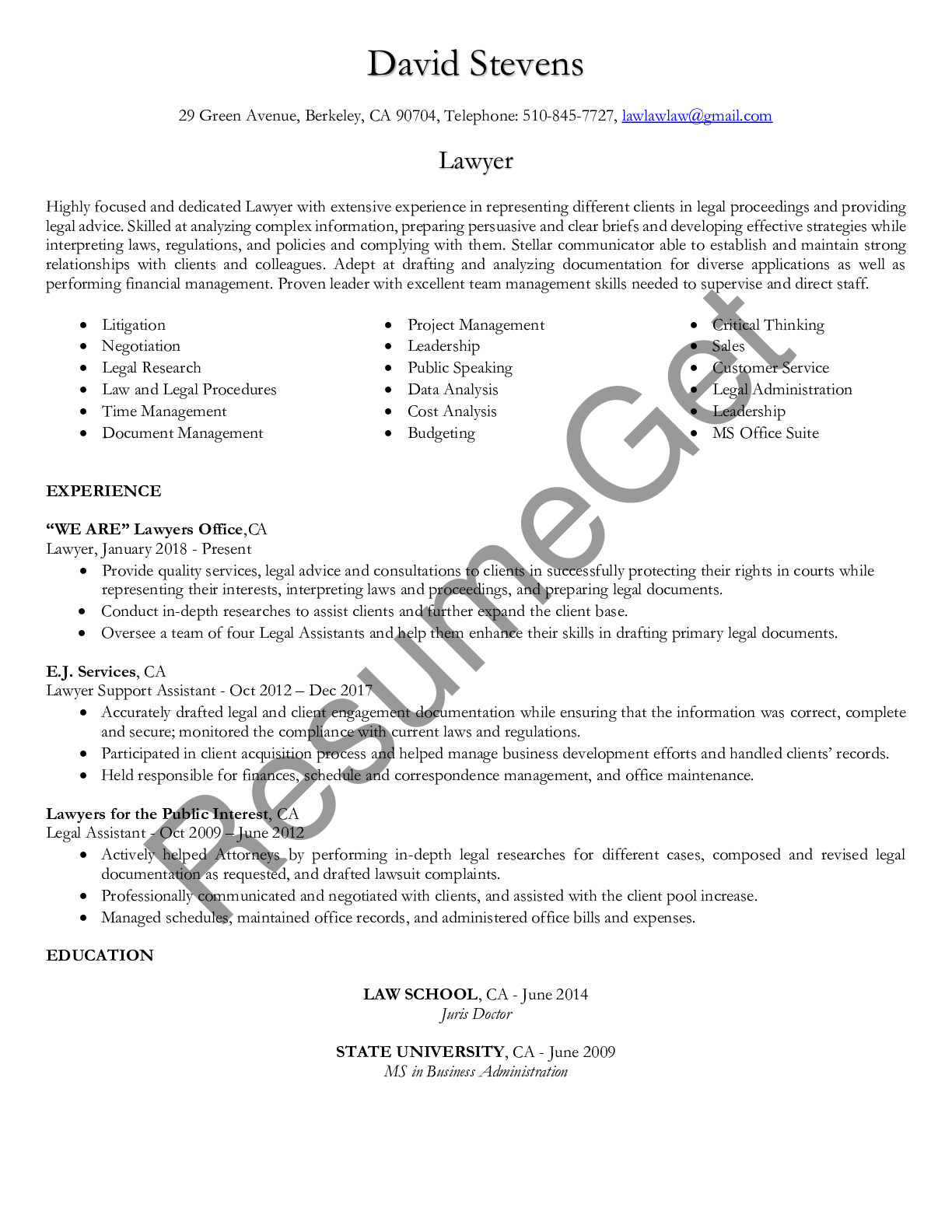 Resume Example for Lawyer