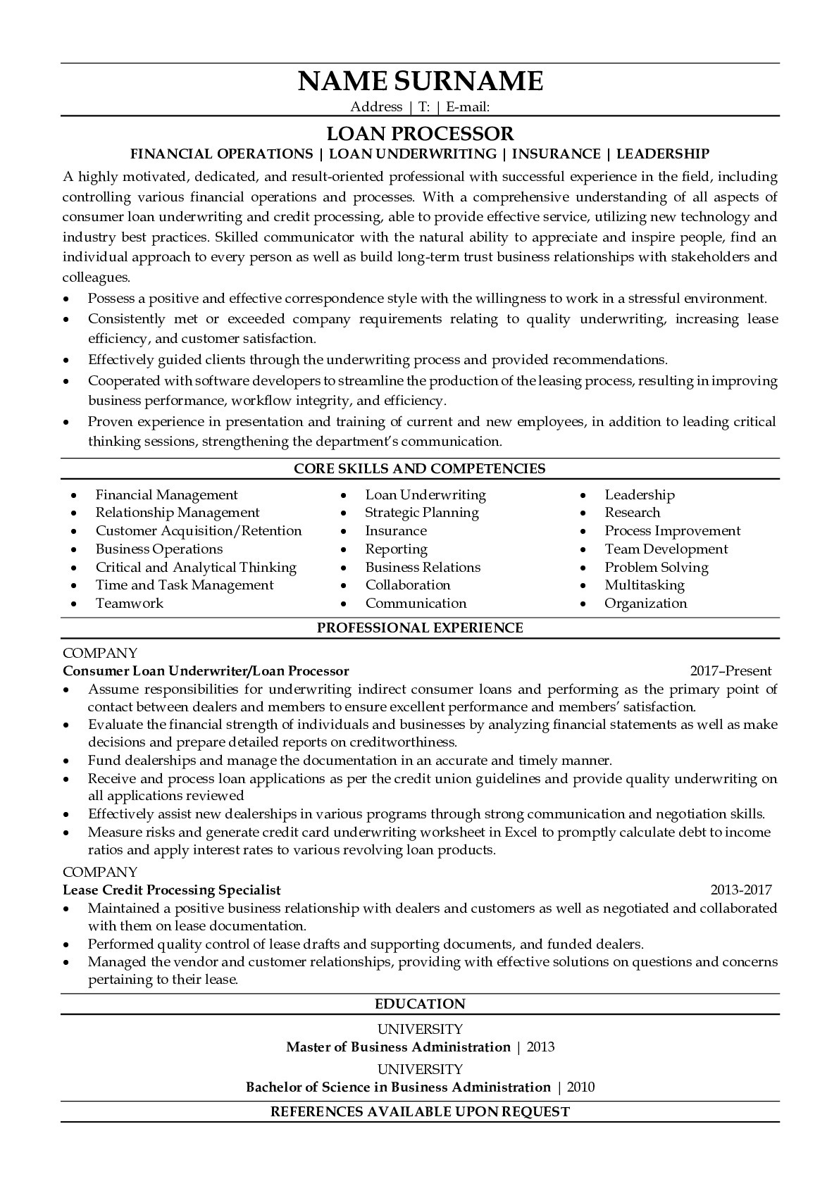 Resume Example for Loan Processor