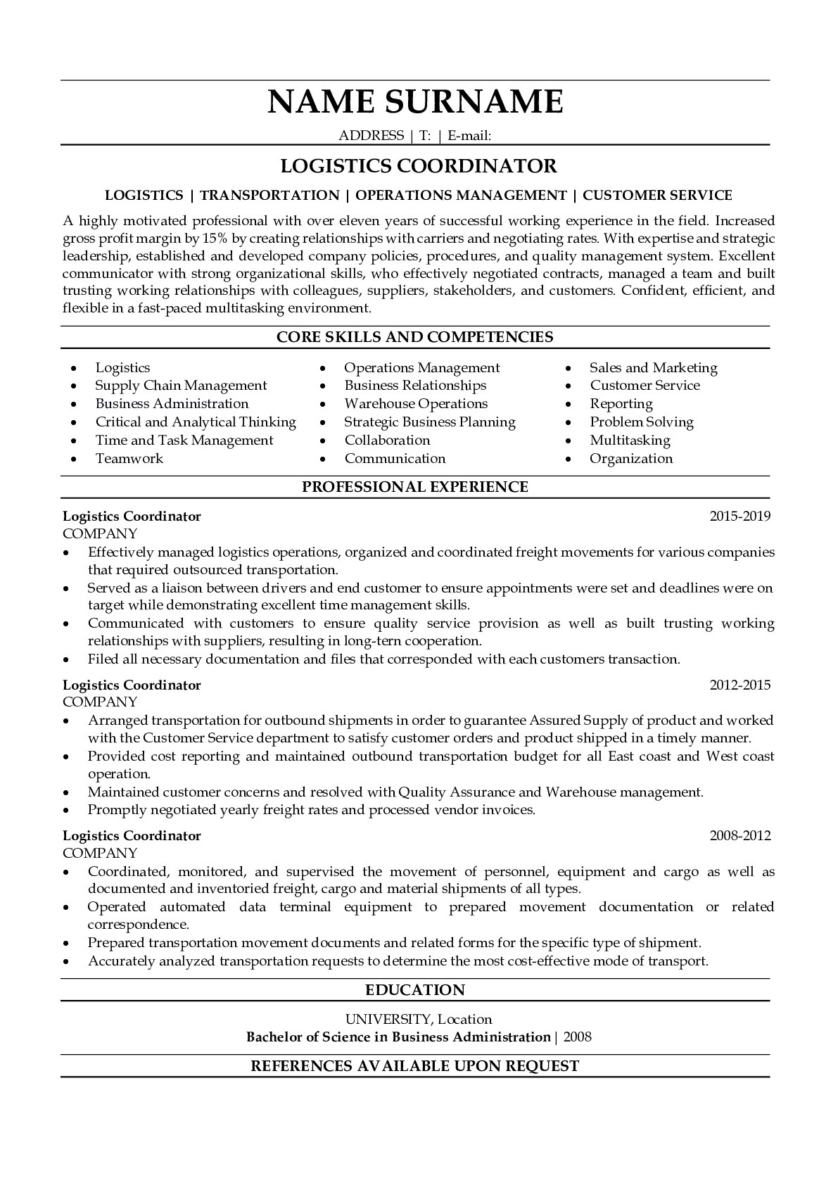 Resume Example for Logistics Coordinator