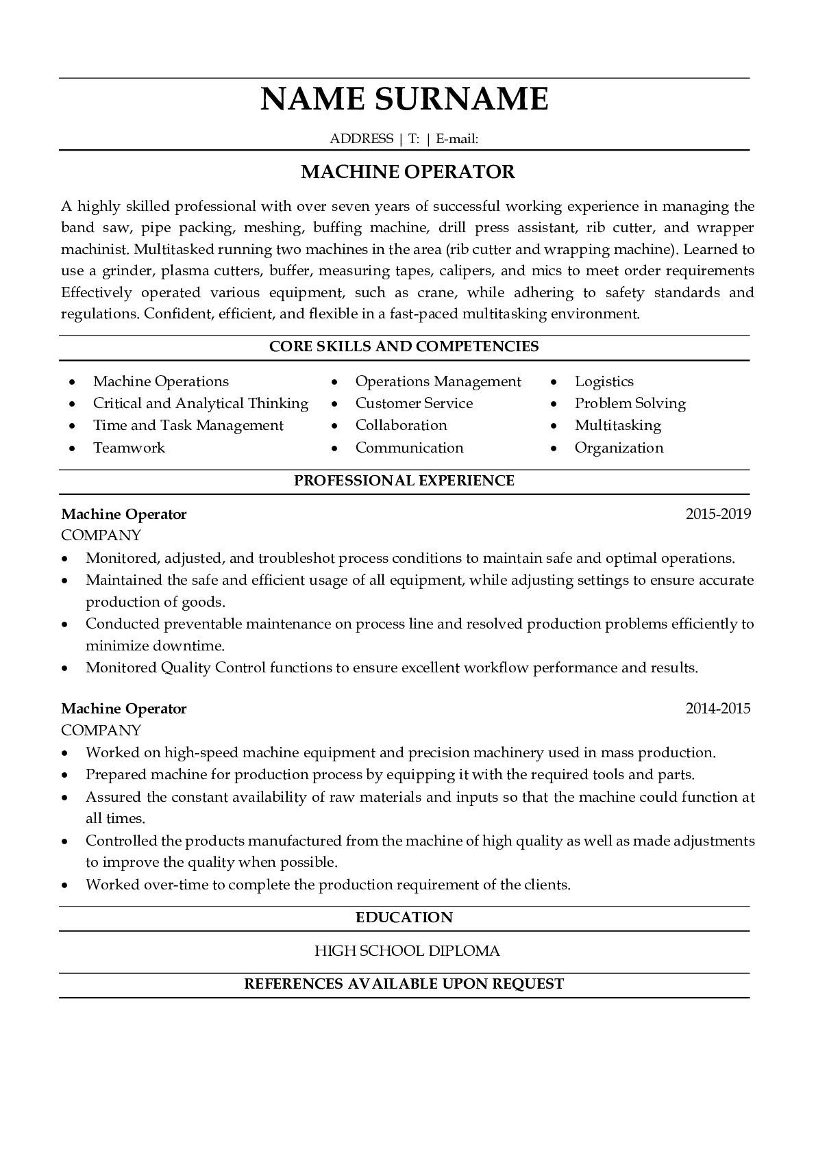 Resume Example for Machine Operator