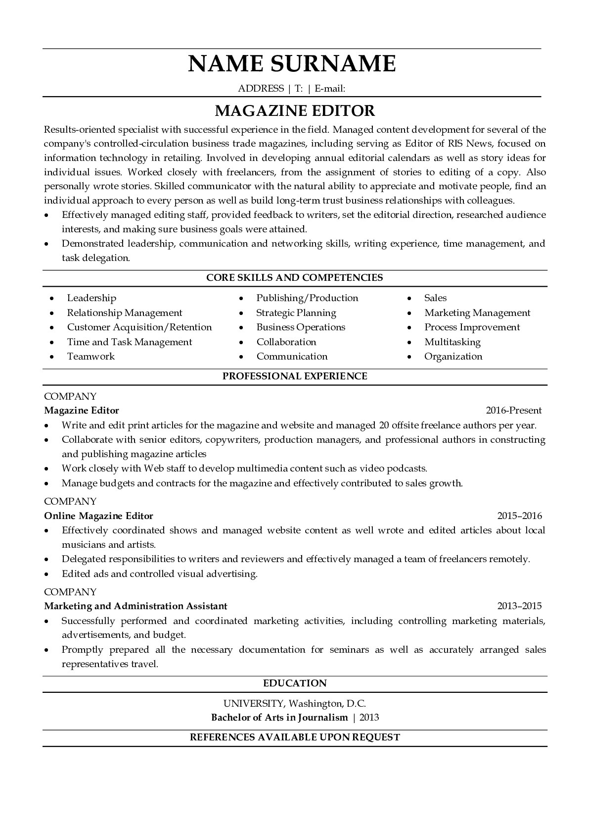 Resume Example for Magazine Editor