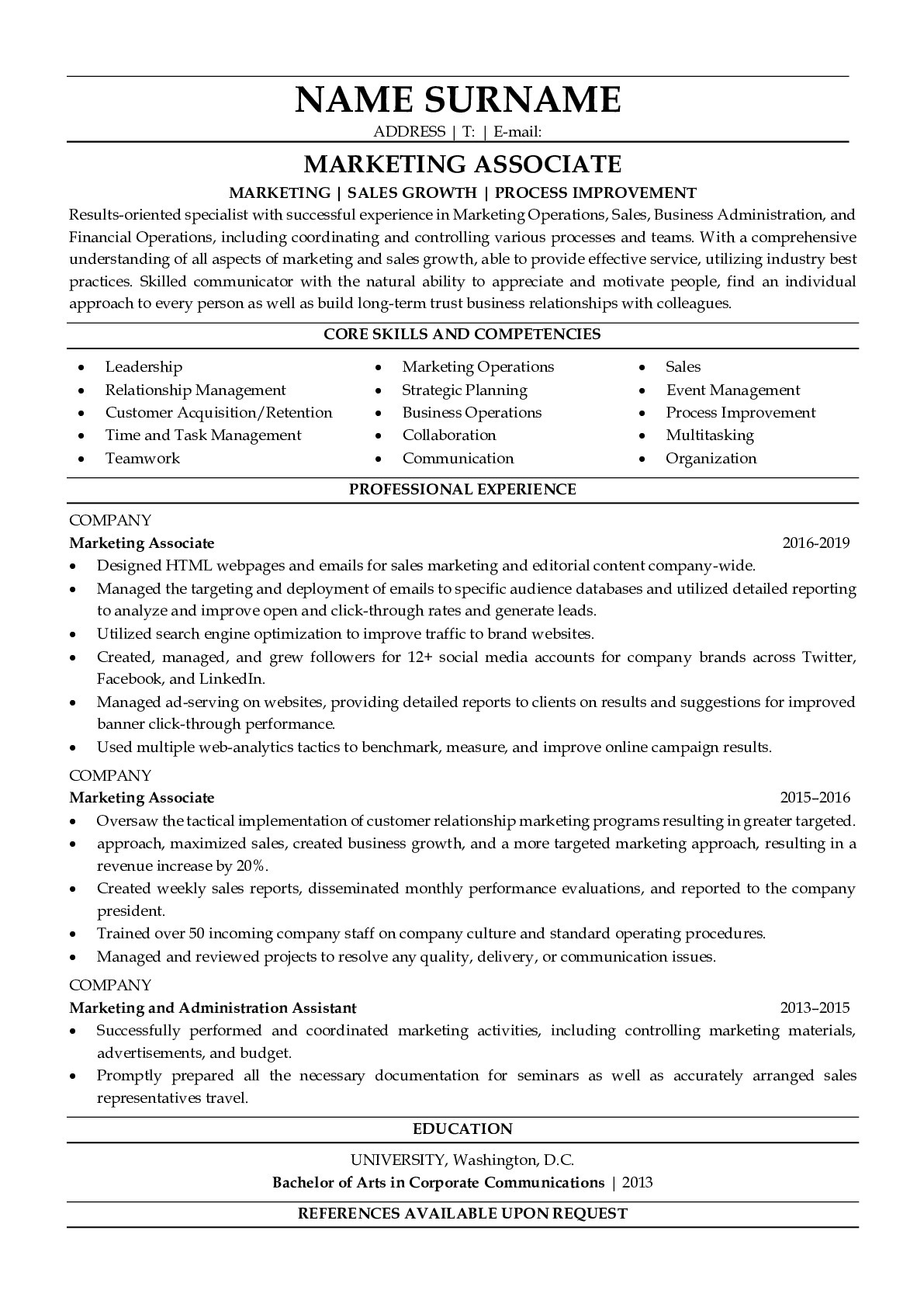 Resume Example for Marketing Associate