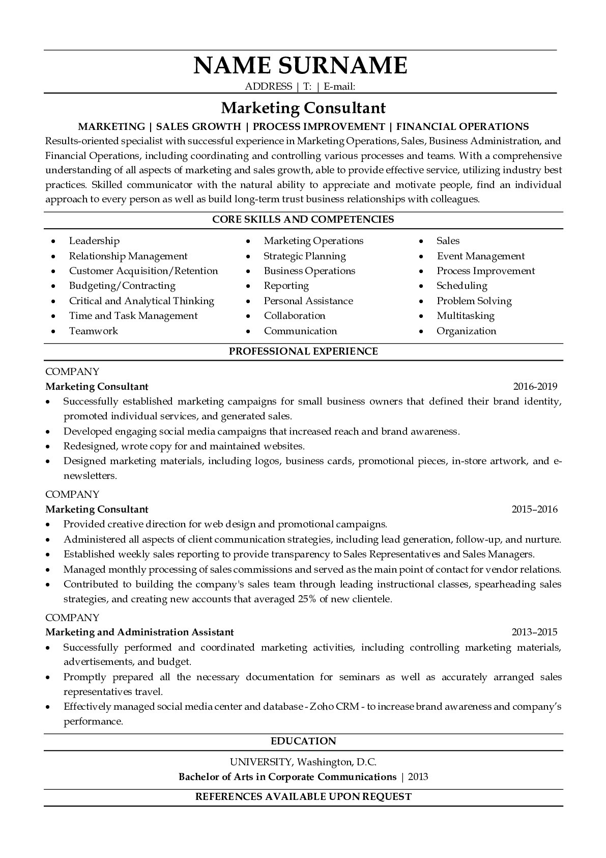 Resume Example for Marketing Consultant