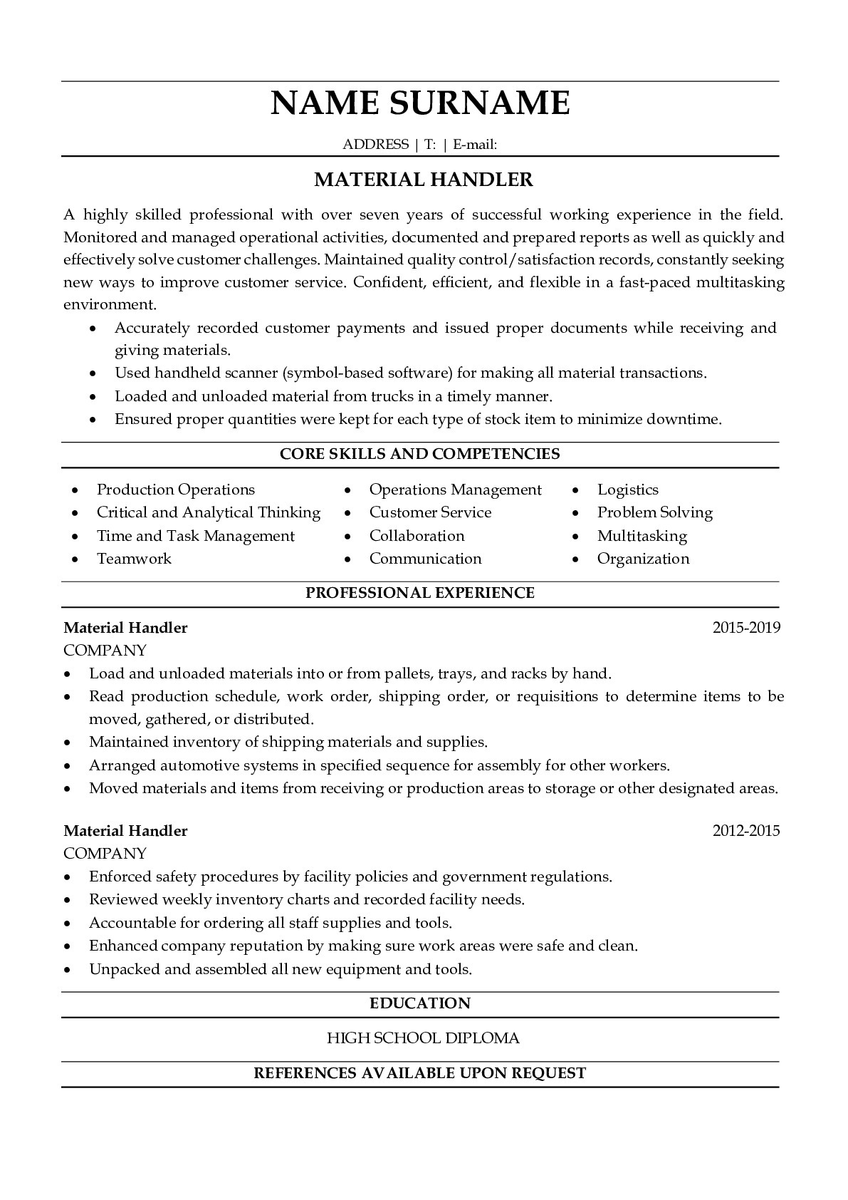 Resume Example for Material Handler