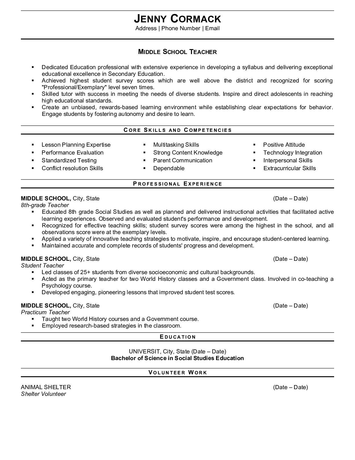 Resume for Middle School Teacher