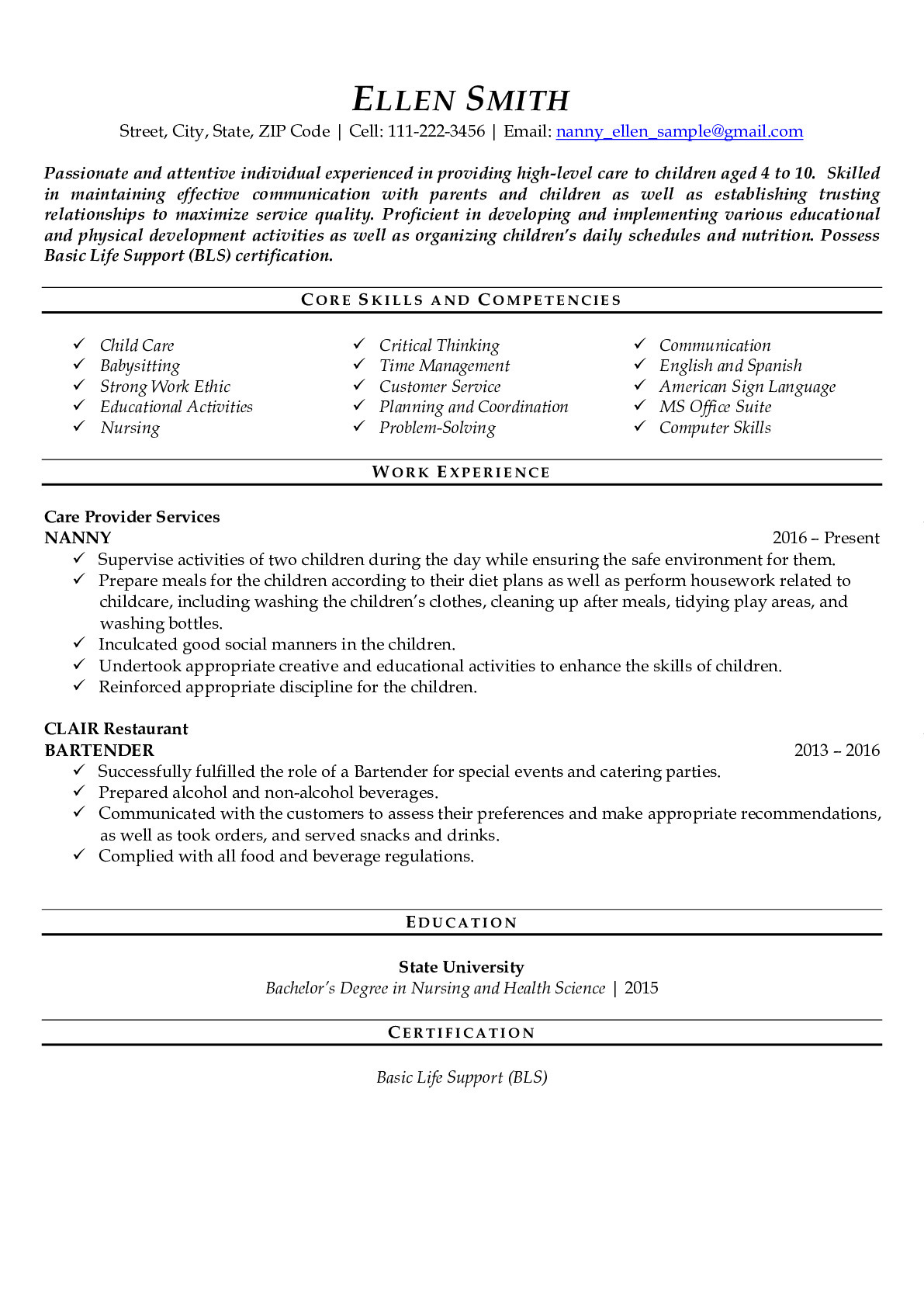 Resume Example for Nanny