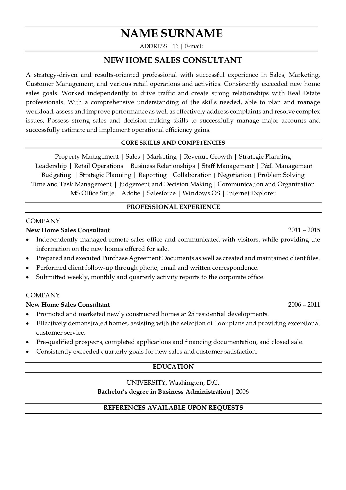 Resume Example for New Home Sales Consultant