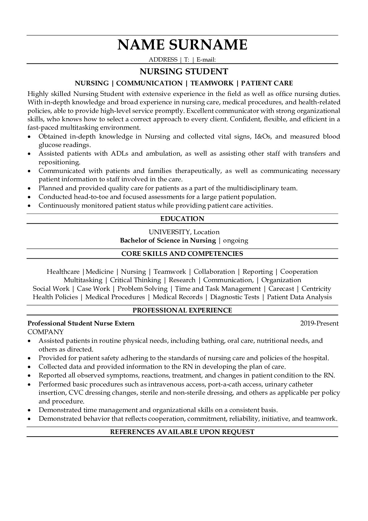Resume Example for Nursing Student