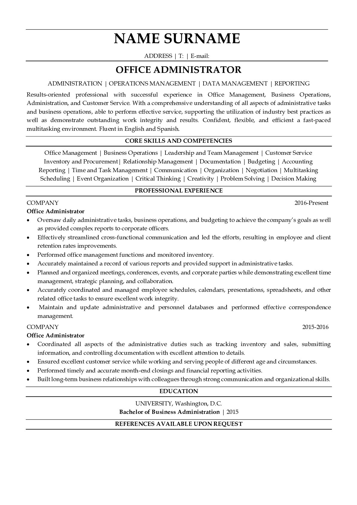 Resume Example for Office Administrator